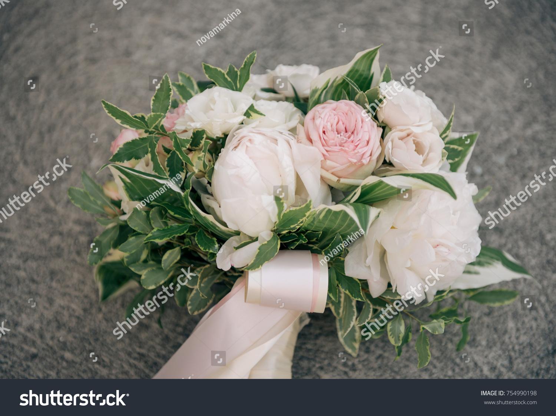 Blush White Wedding Florals Bouquet Stock Photo Royalty Free