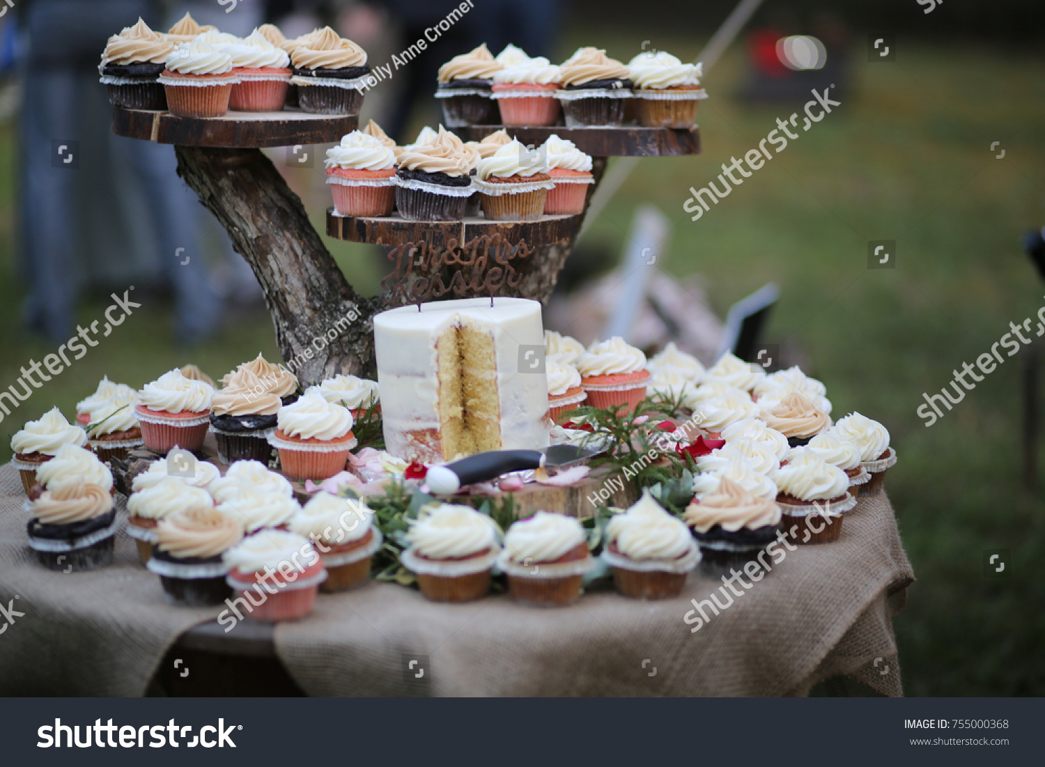 Rustic Themed Wedding Cake Cupcakes On Stock Photo Edit Now