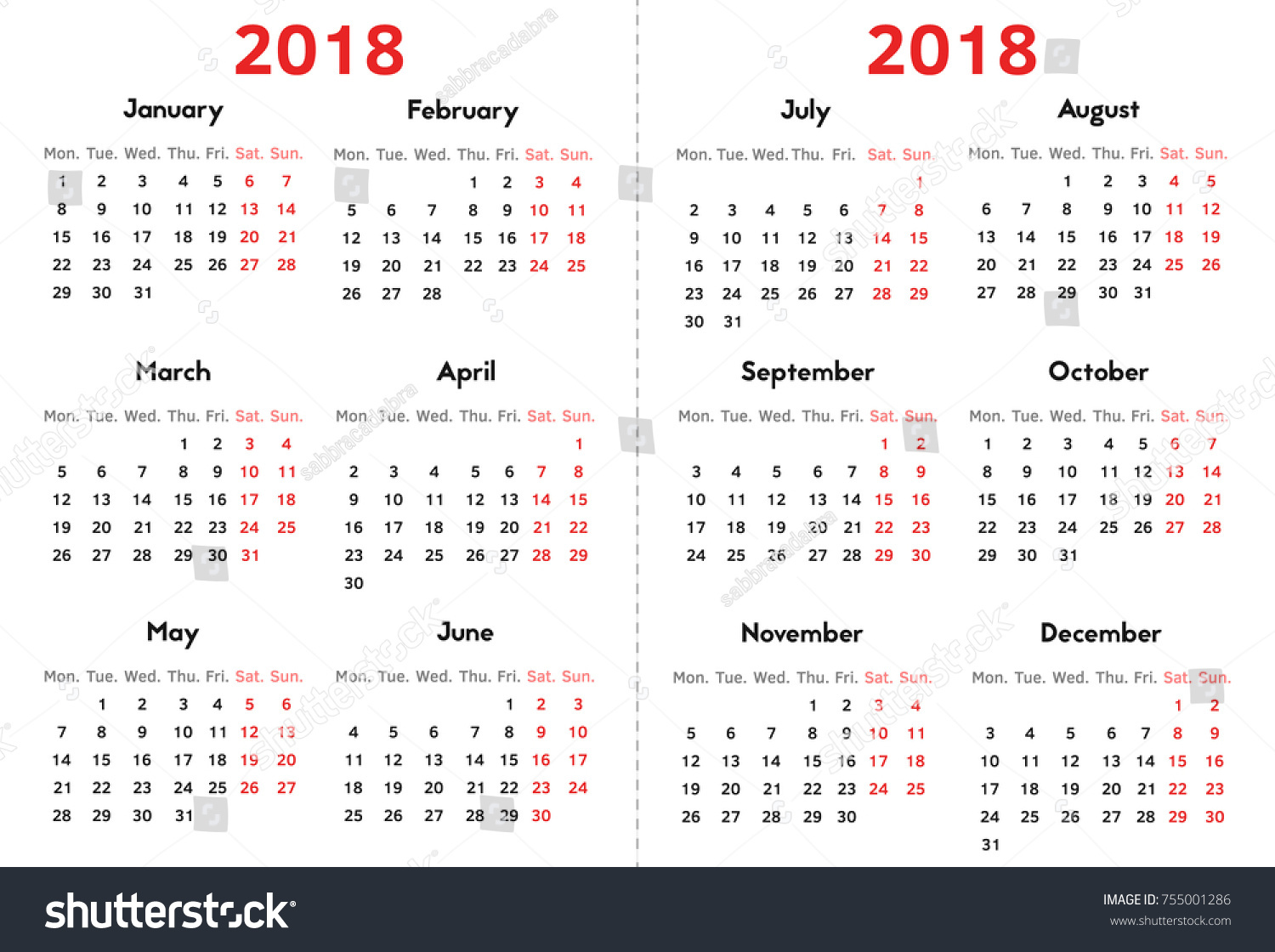 calendar for 2018 year on transparent background week starts at monday simple vector template