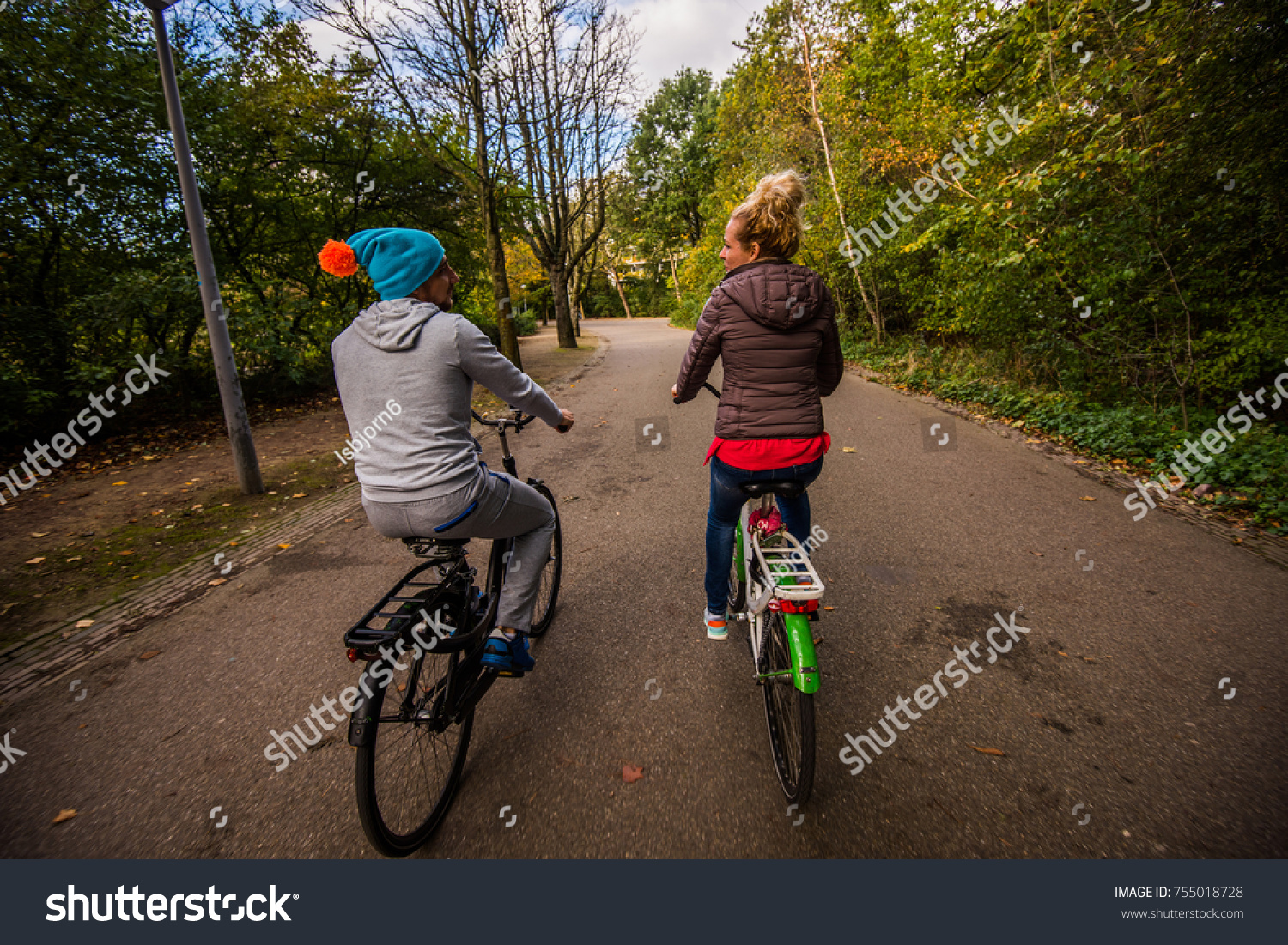 Couple Have Fun Riding On Bike Stock Photo Edit Now 755018728