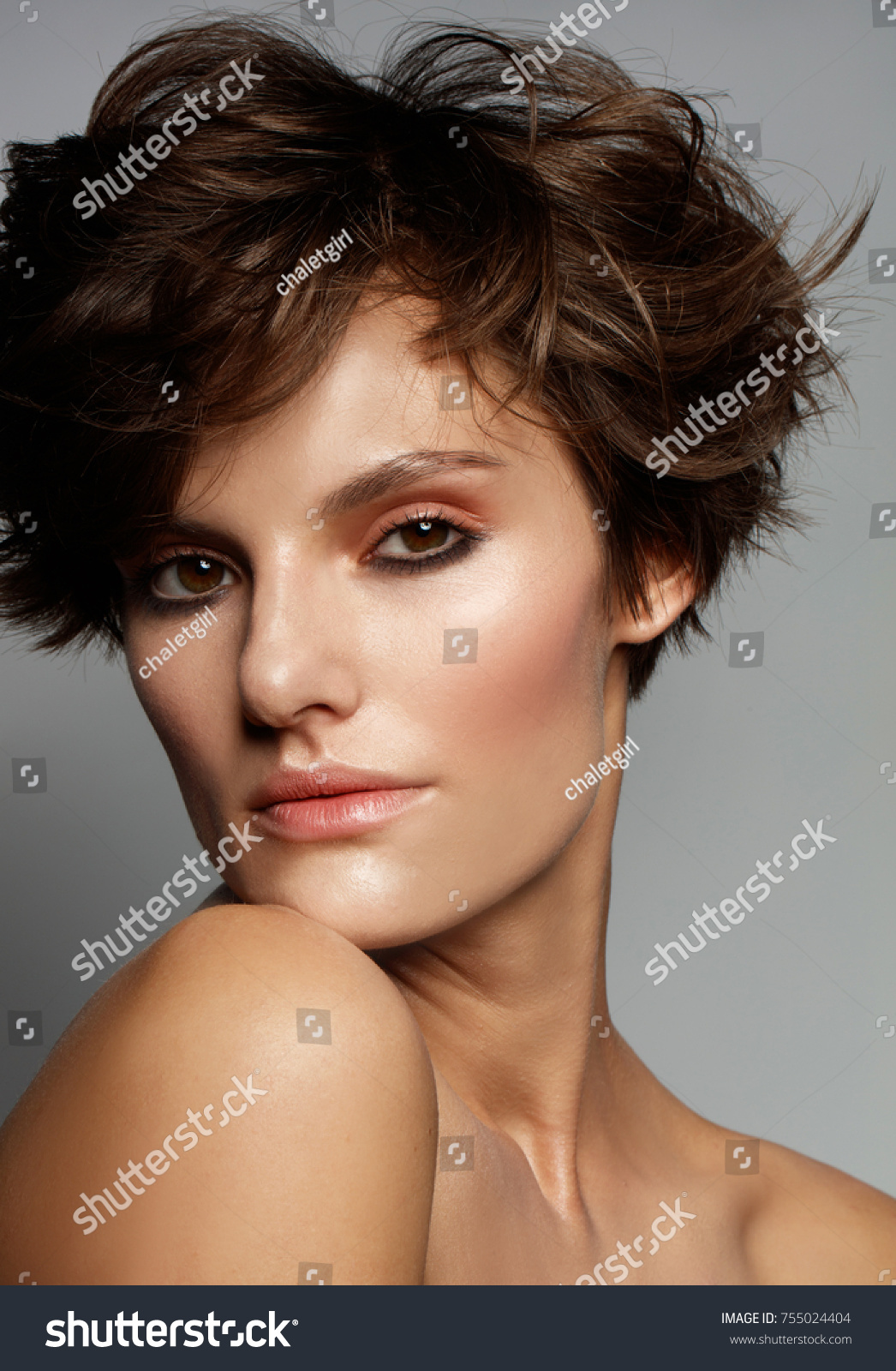 Young Model Fresh Make Short Hair Stock Photo Edit Now 755024404