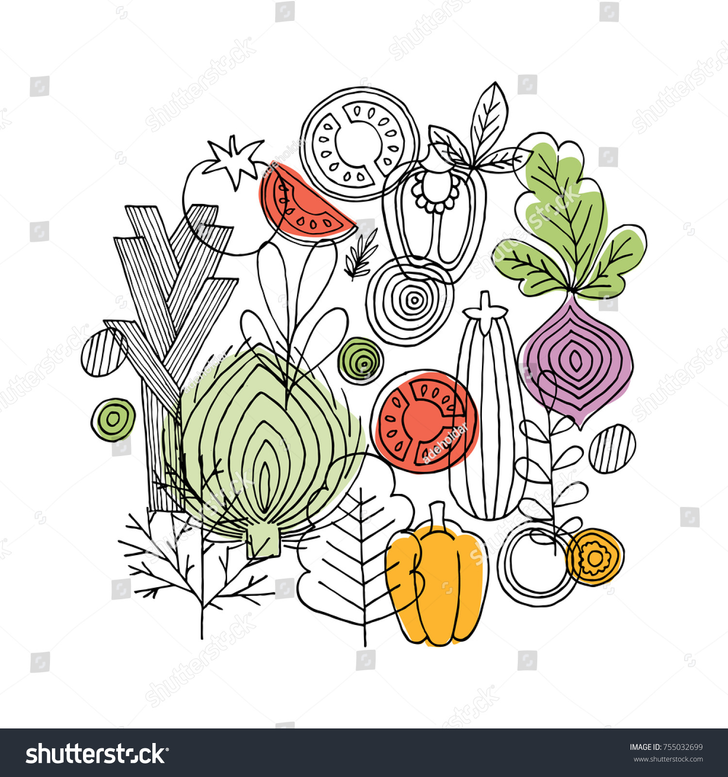 Vegetables round composition. Linear graphic. Vegetables background. Scandinavian style. Healthy food. Vector illustration #755032699