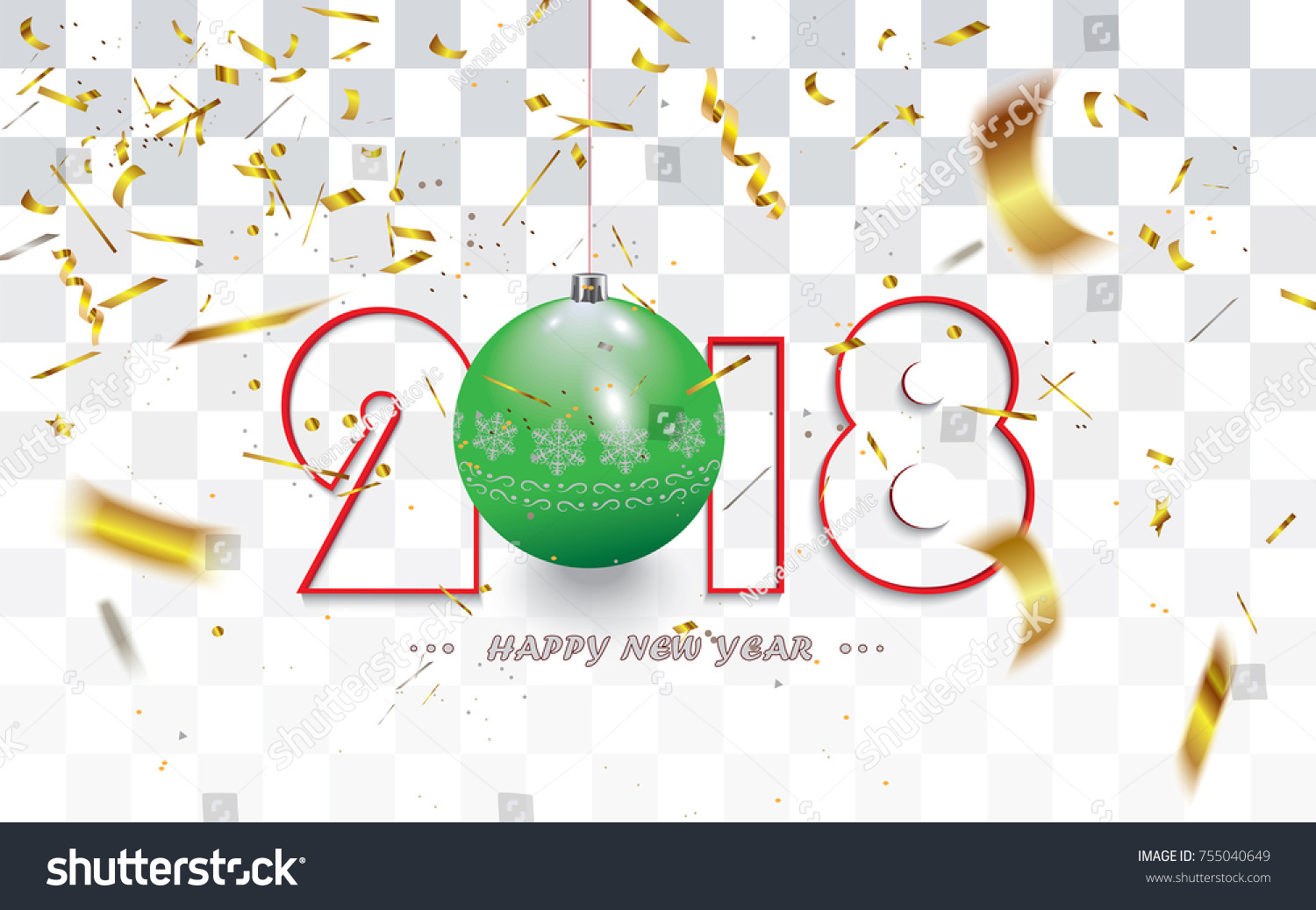 happy new year 2018 christmas card with golden transparent defocused confetti and decoration isolated on