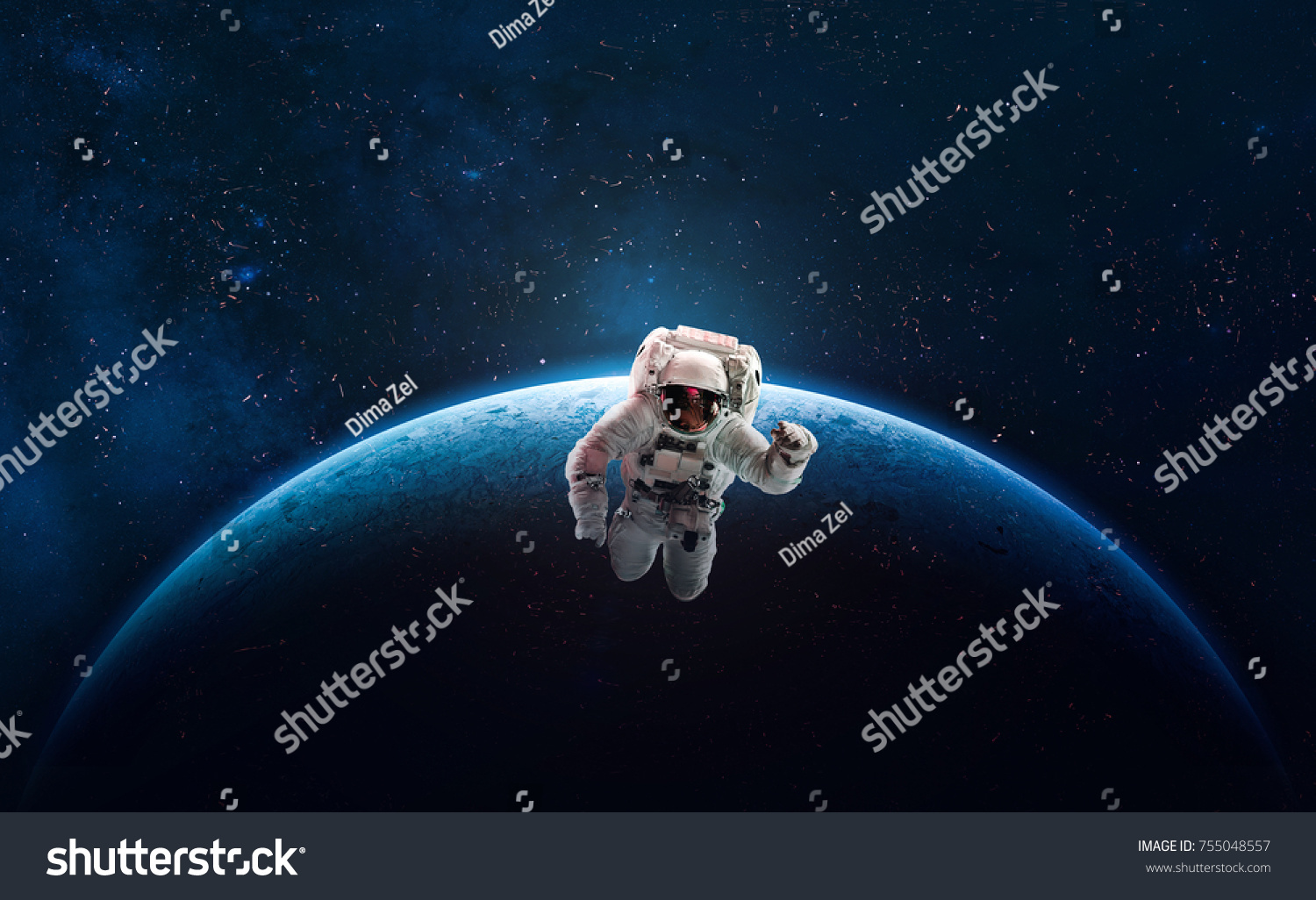 astronaut outer space over planet earth stock photo (edit now
