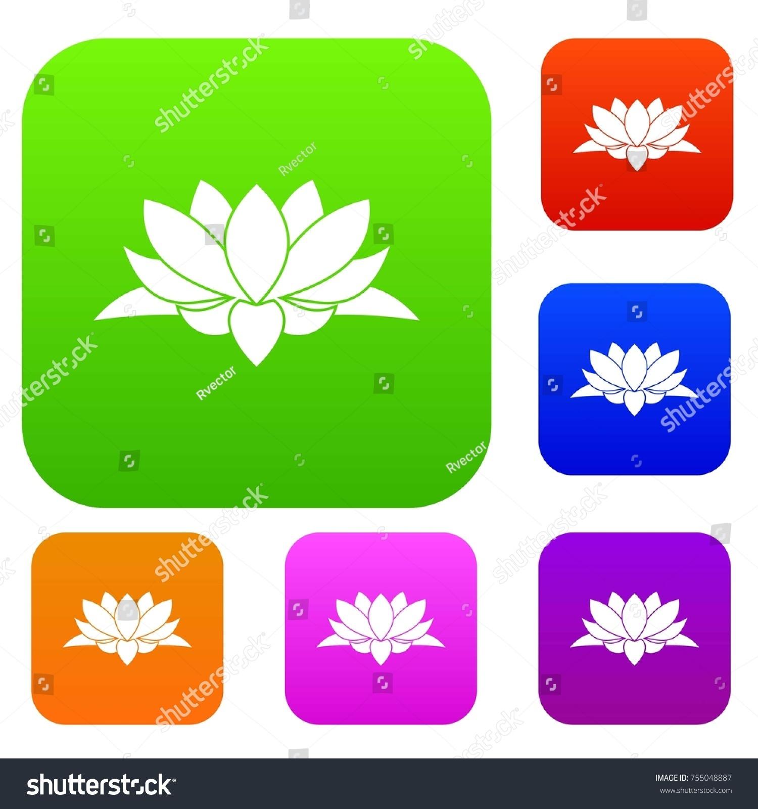 Lotus flower set icon different colors stock illustration 755048887 lotus flower set icon in different colors isolated illustration premium collection izmirmasajfo