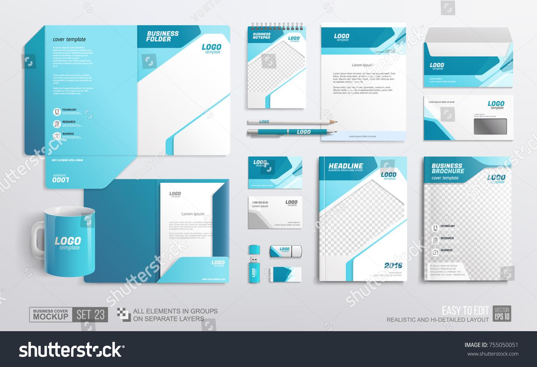 Mockup Set Stationery Corporate Brand Identity Stock-Vektorgrafik ...