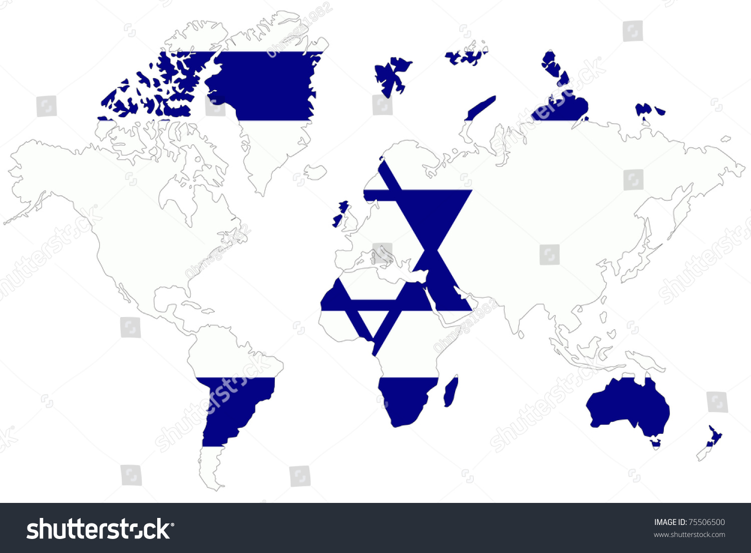 World Map Background Israel Flag Stock Illustration 75506500 ...