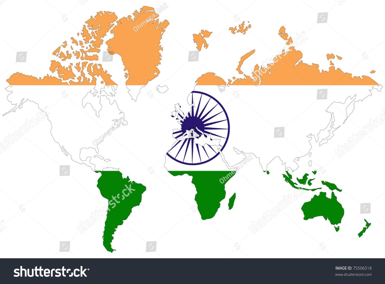 World Map Background India Flag Stock Illustration 75506518