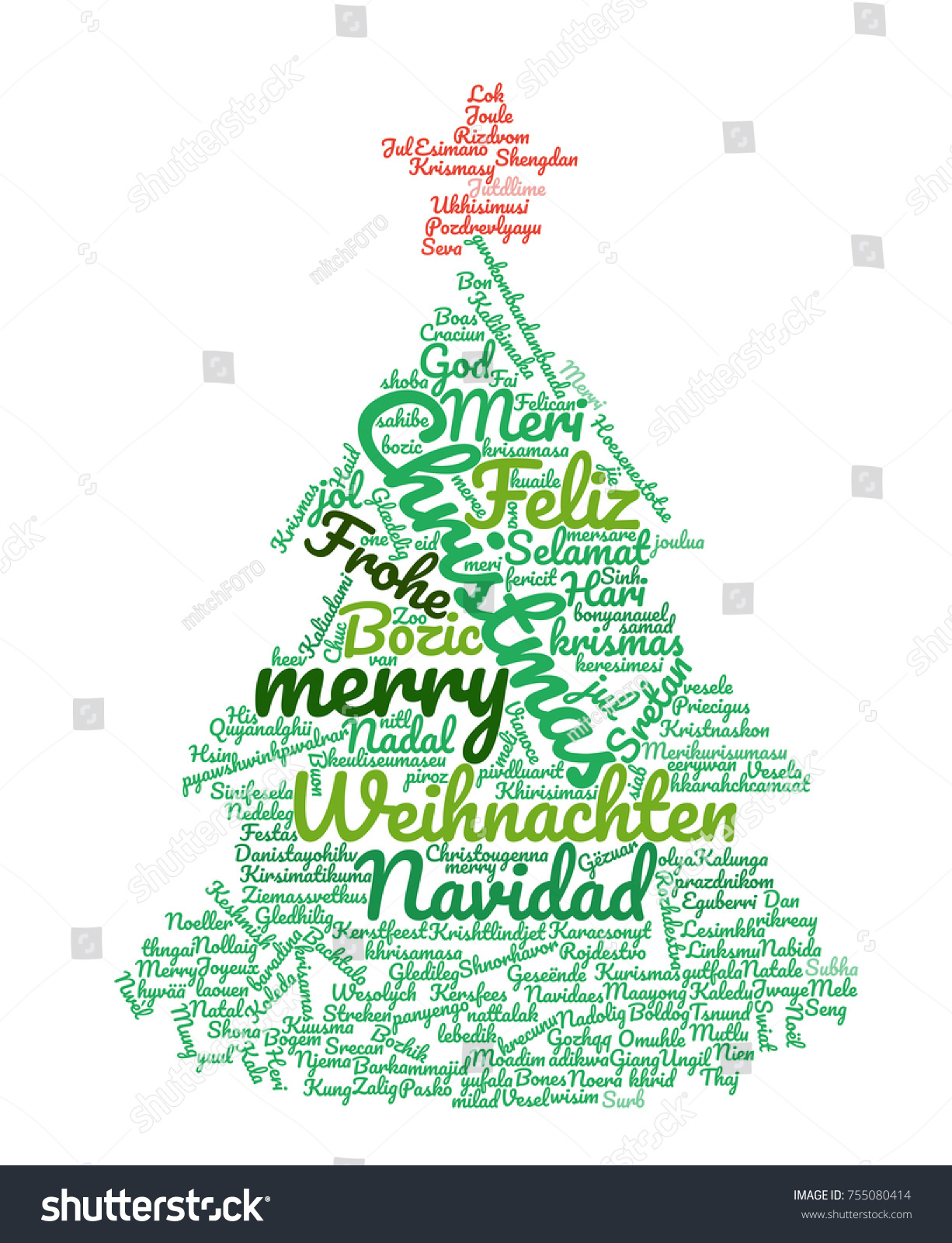 International Christmas Greetings Wordcloud Stock Illustration