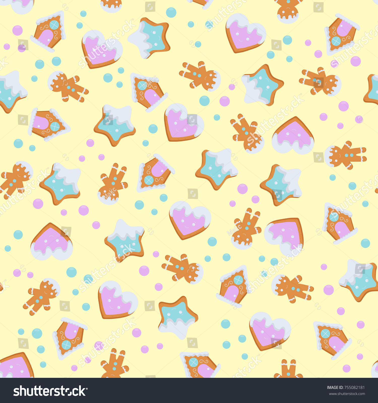 Pattern Gingerbread Christmas Cookies Greeting Card Stock Vector