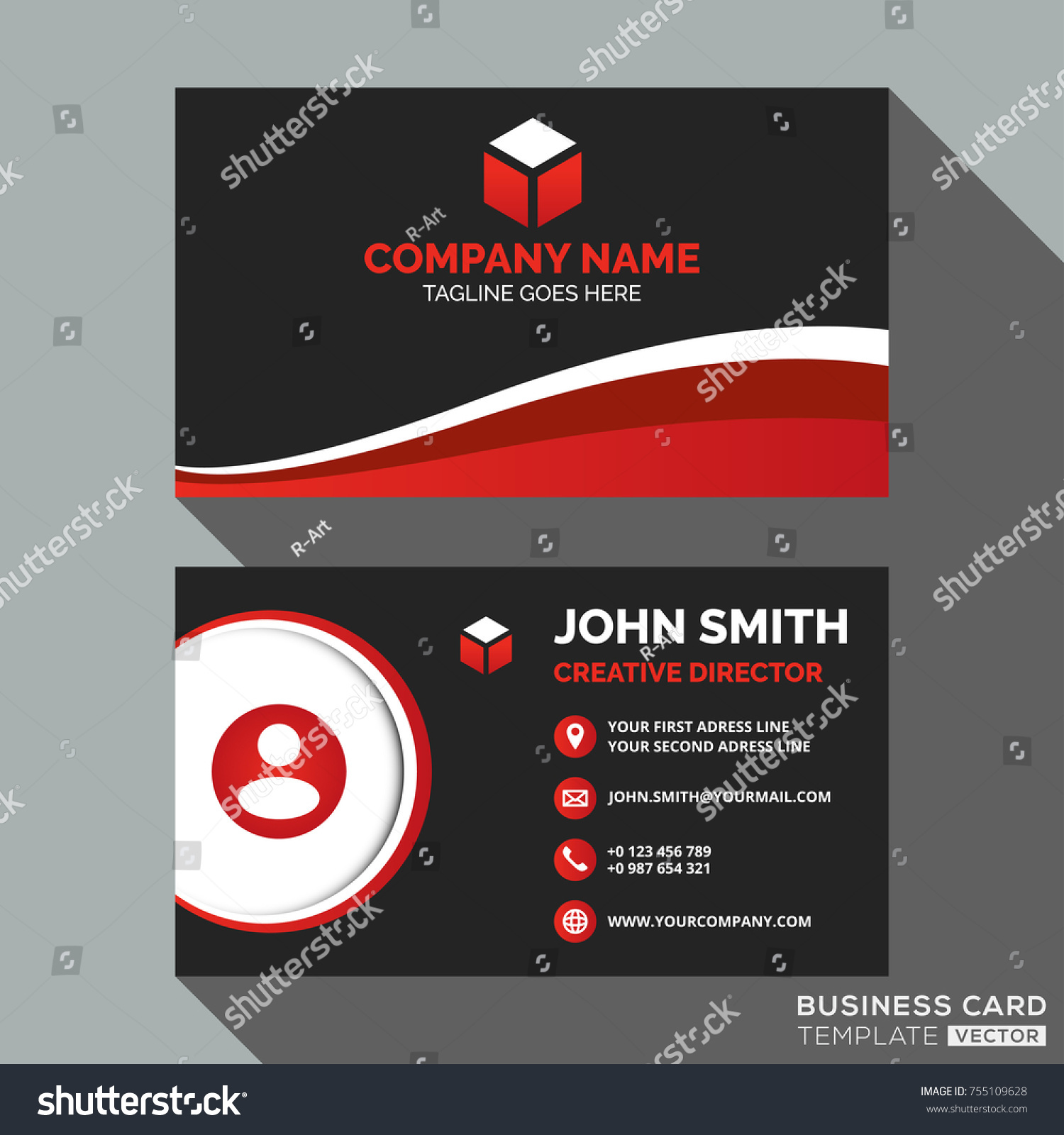 Dark red business card template design stock vector royalty free dark and red business card template design wajeb Images