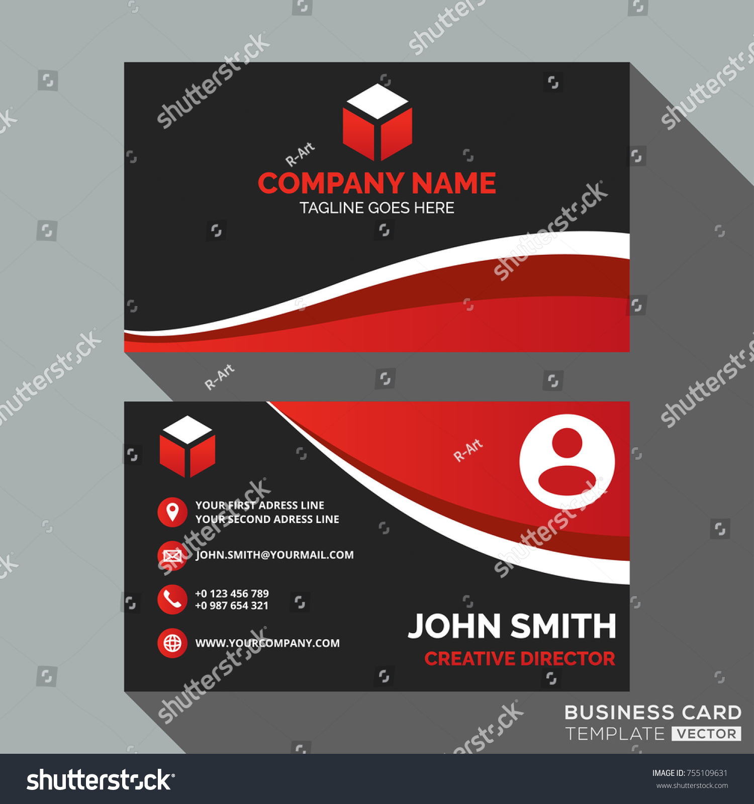 Dark red business card template design stock vector 755109631 dark and red business card template design accmission Gallery