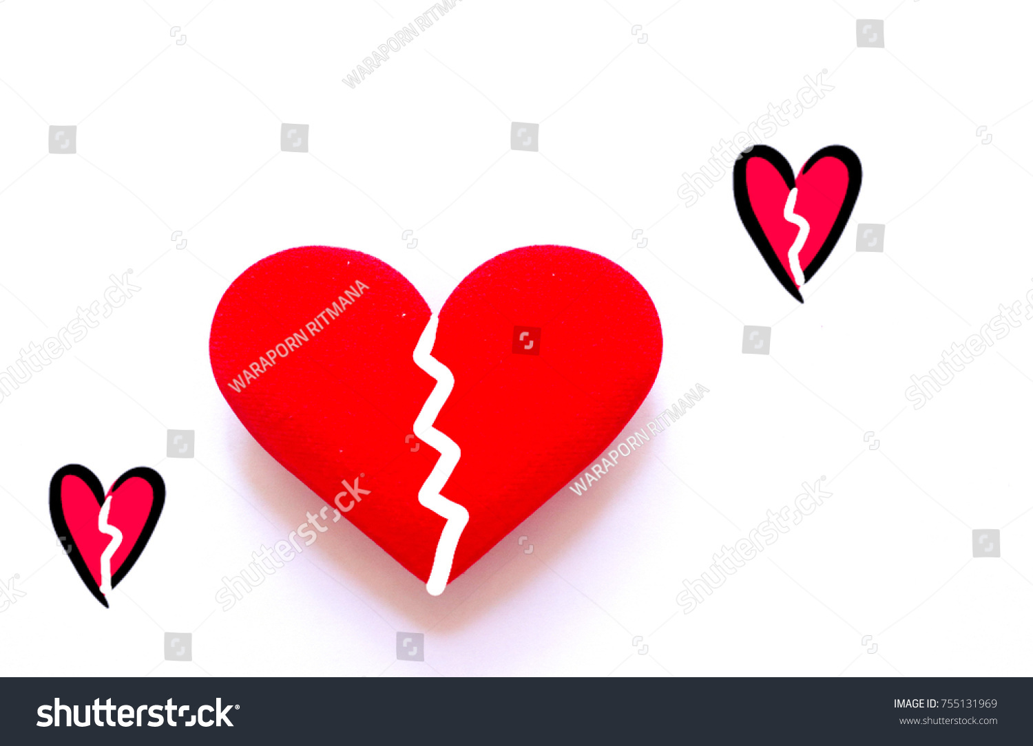 Broken Heart Icon Red Heartbreak Big Stock Photo Edit Now