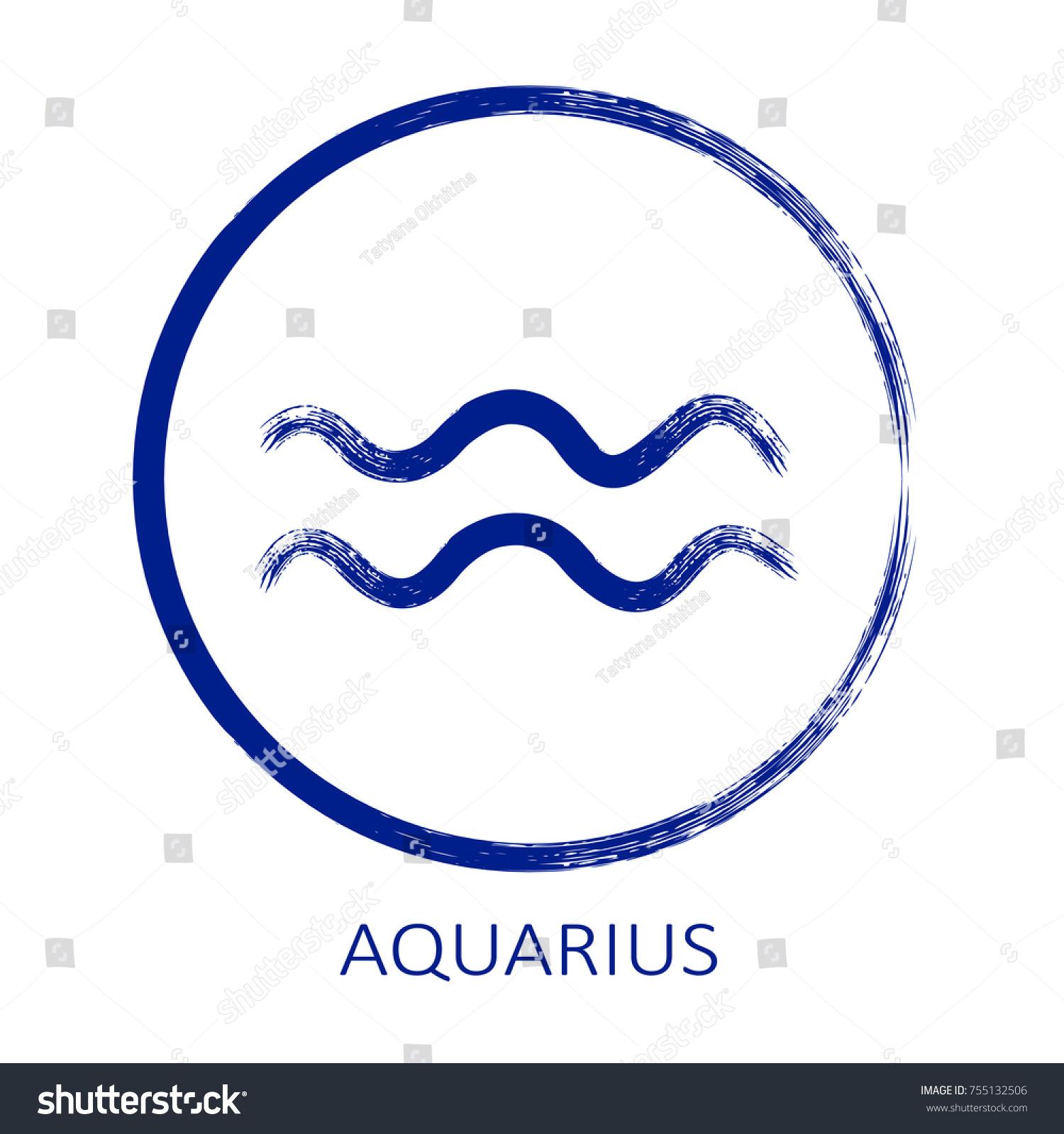 Zodiac Sign Aquarius Isolated On White Stock Illustration Royalty