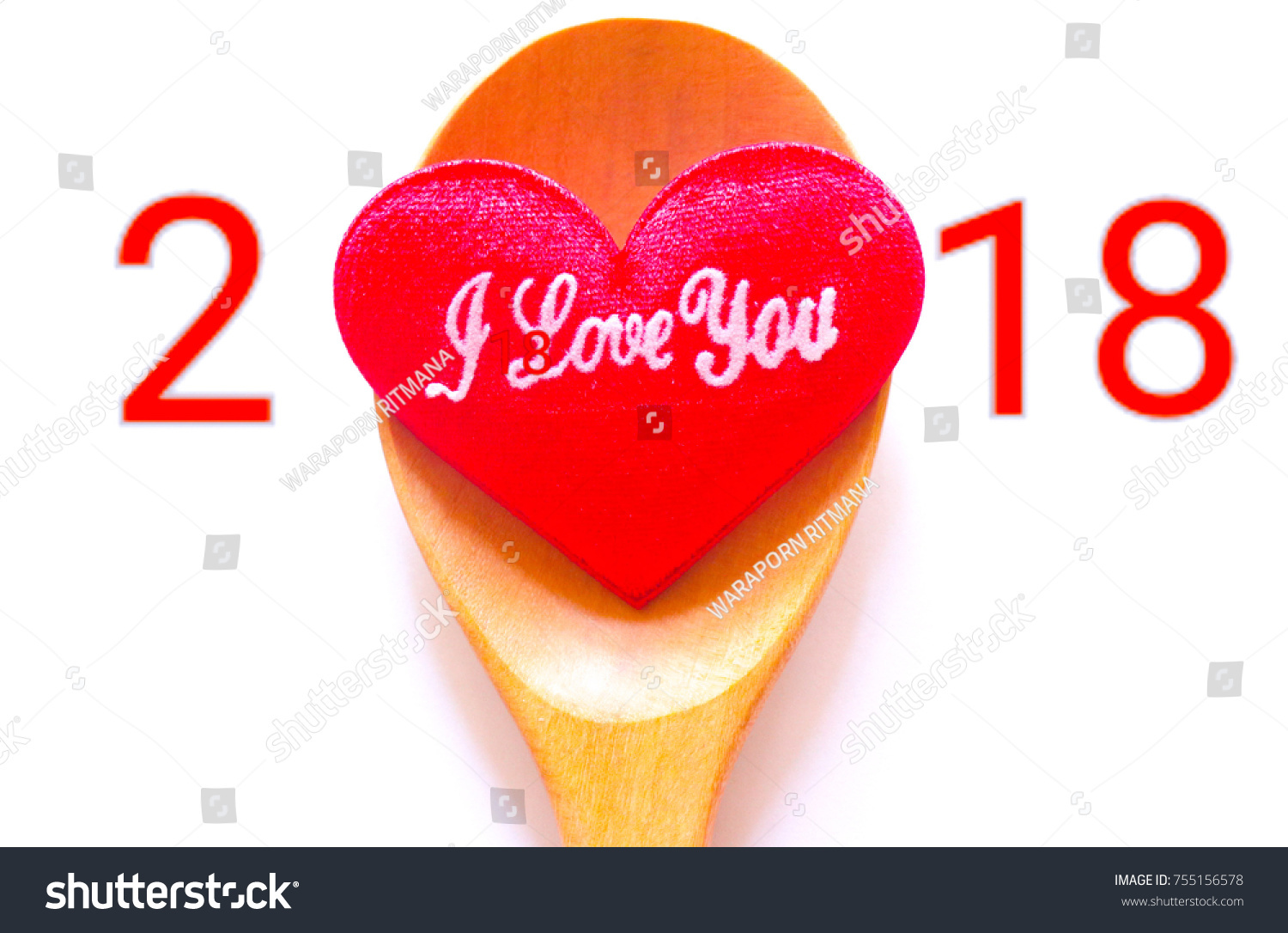 Happy New Year Valentine Day 2018 Stock Photo Edit Now 755156578