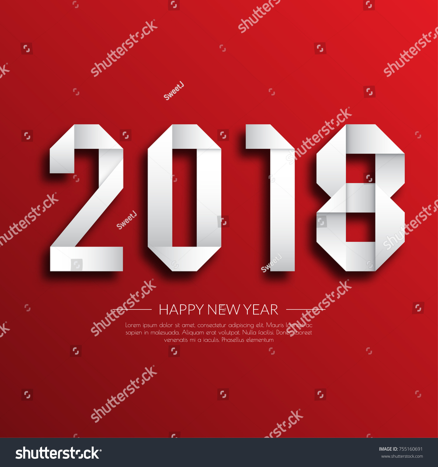 Happy New Year 2018 Greetings Card Stock Vector Royalty Free