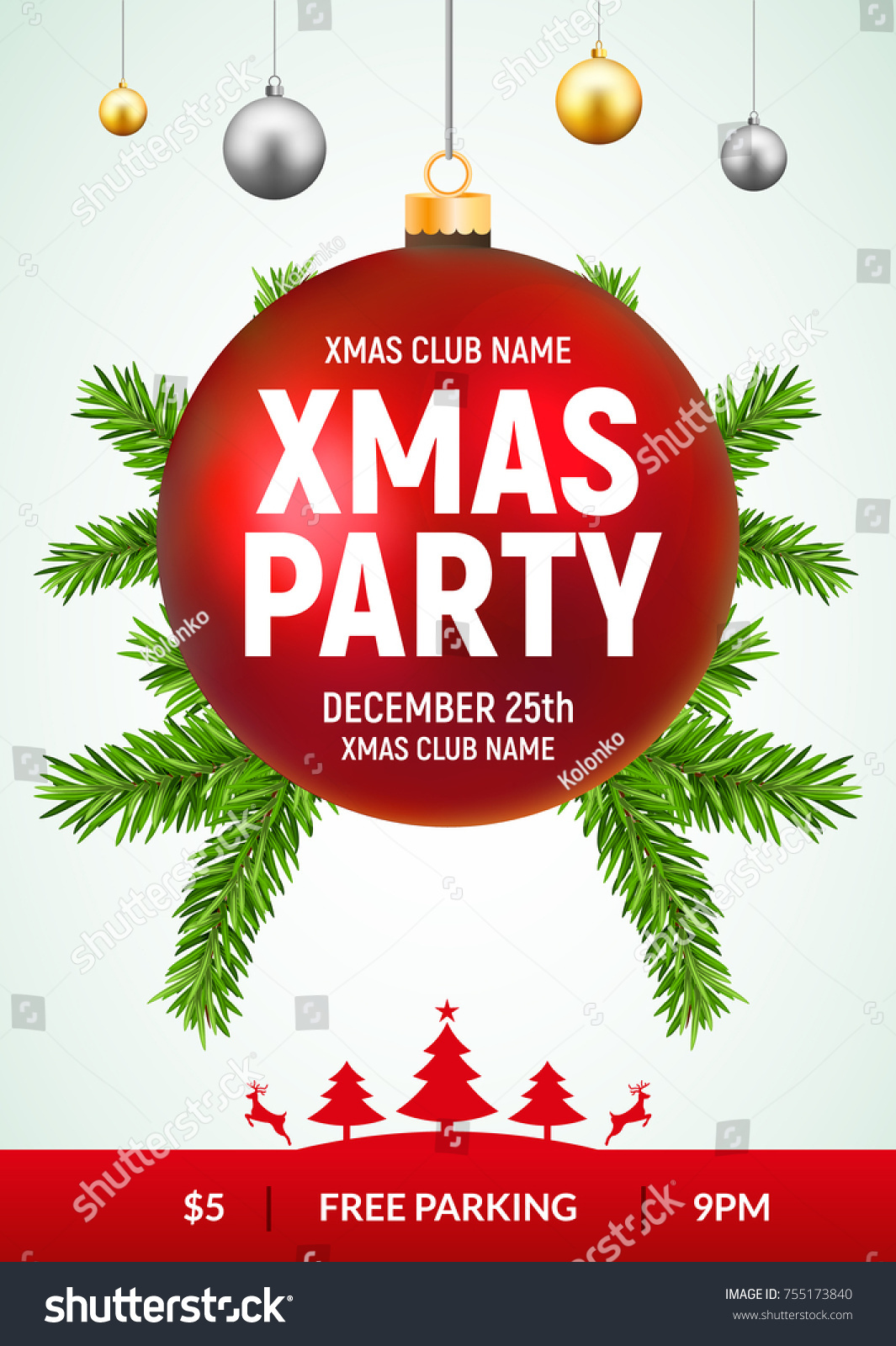 christmas party flyer red gold ball stock vector royalty free