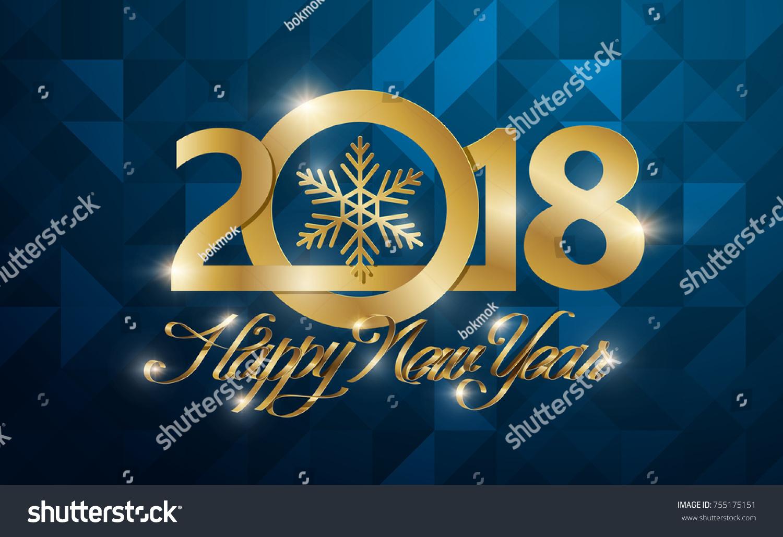 Happy New 2018 Year Greeting Card Vector IllustrationWallpaper