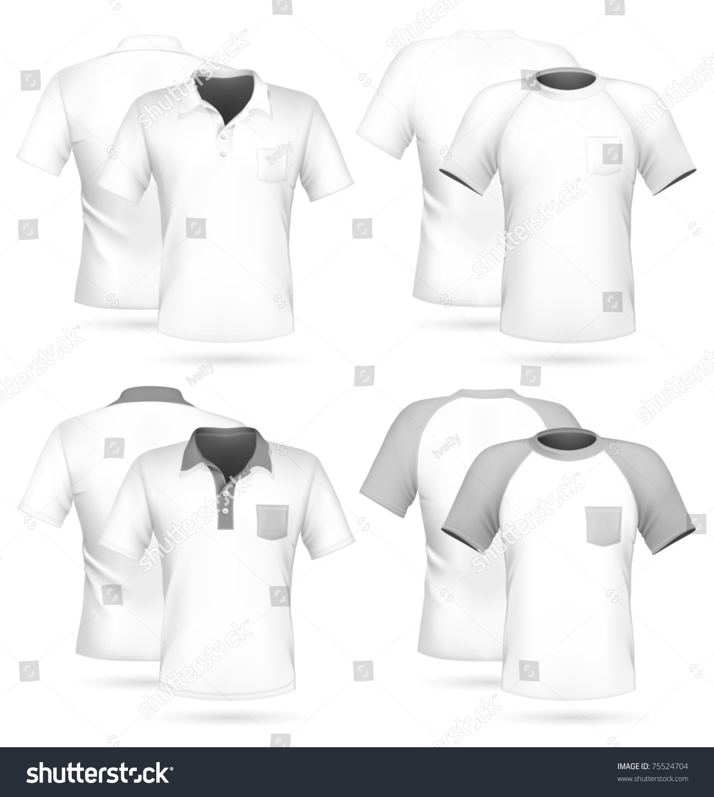 Vector men 39 s polo shirt and t shirt design template with for Shutterstock t shirt design