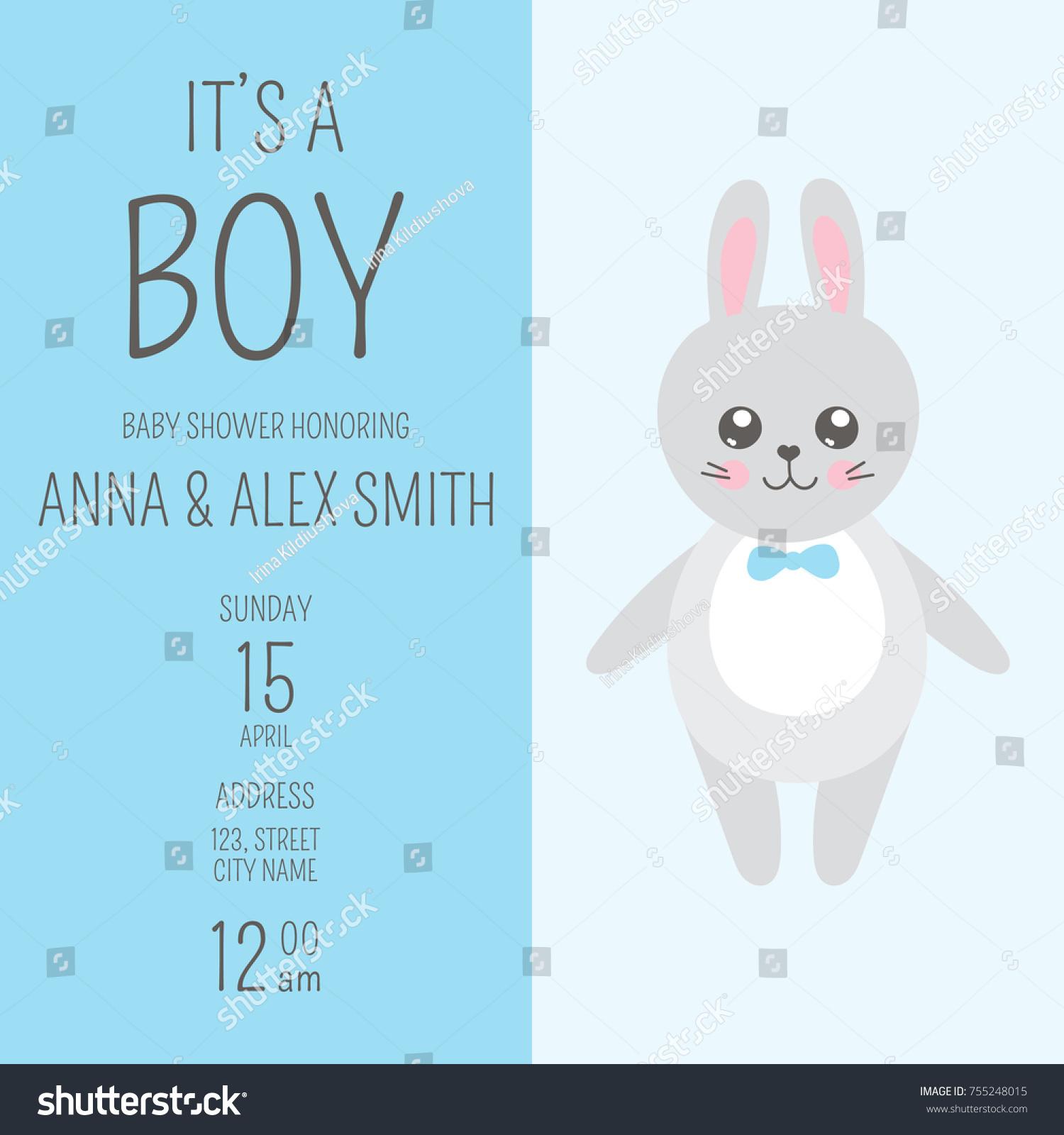 Cute Baby Shower Boy Invite Card Stock Photo (Photo, Vector ...