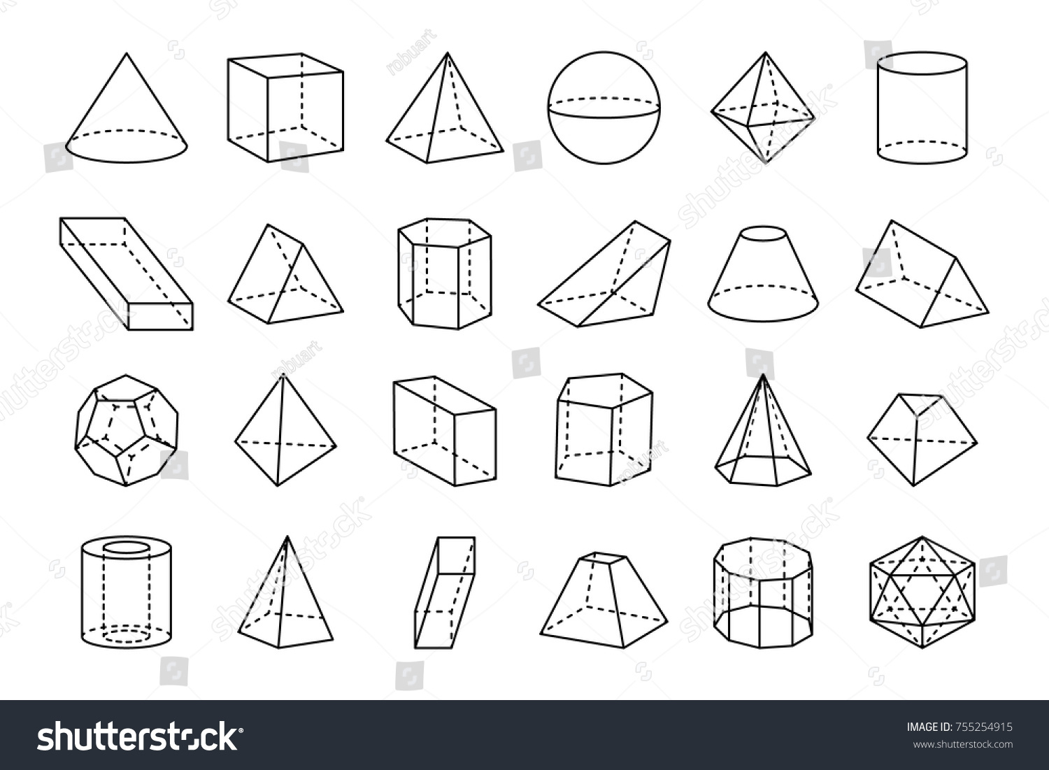 Collection Three Dimensional Geometric Shapes Sketches Stock Vector