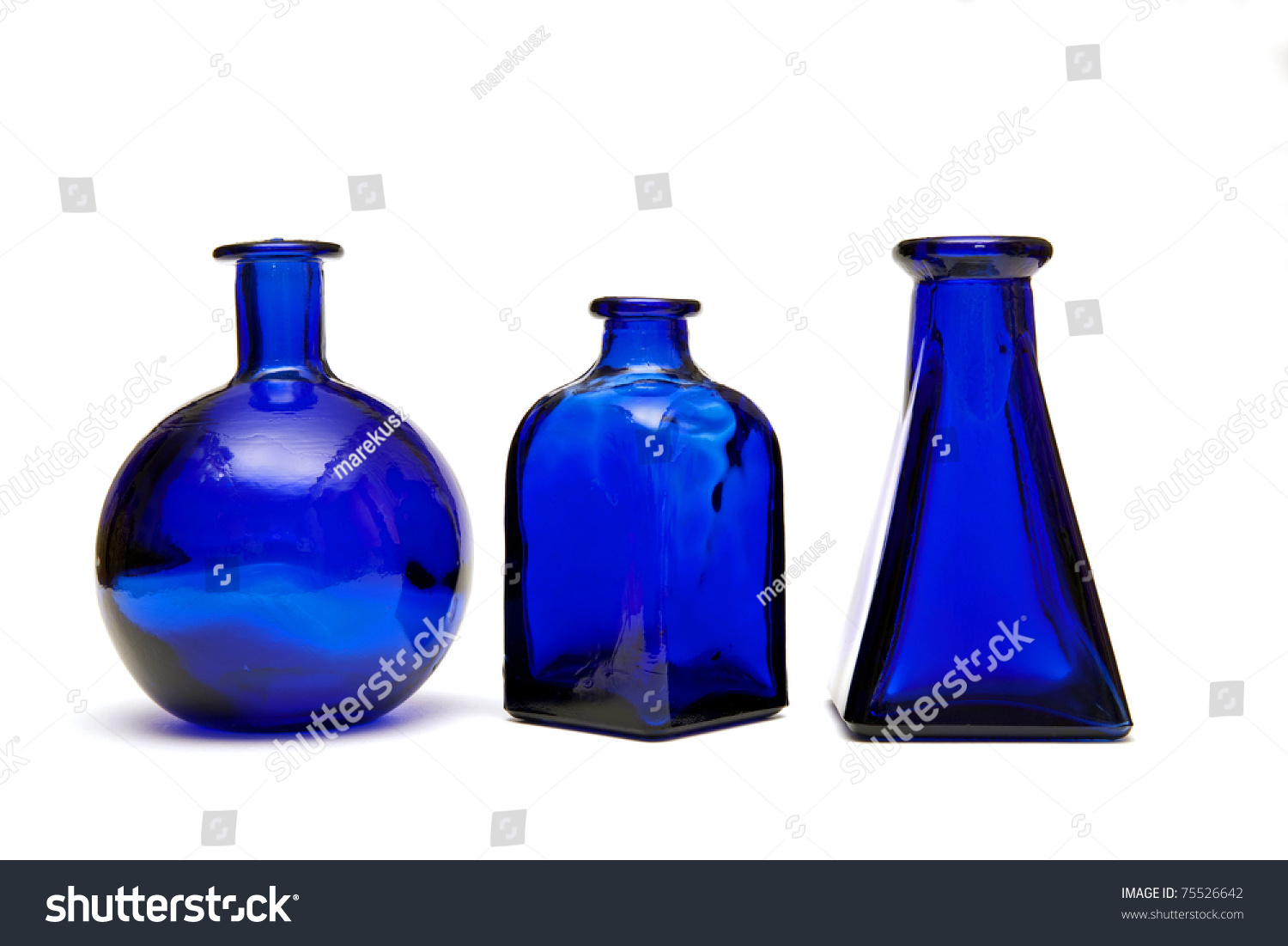 Three blue bottles different shapes stock photo 75526642 three blue bottles with different shapes reviewsmspy