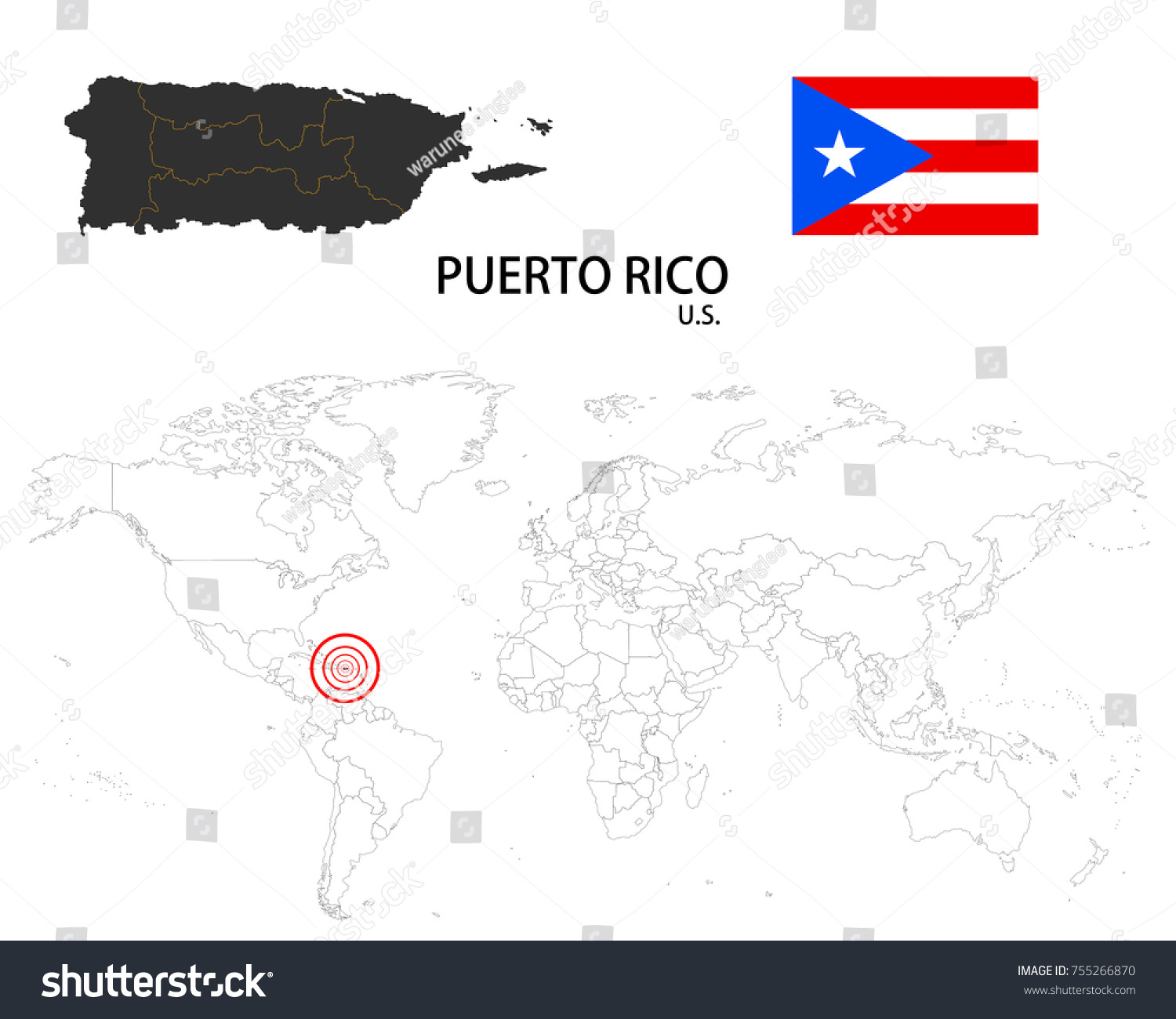 Puerto Rico Us Map On World Stock Vector Shutterstock - Us map with puerto rico
