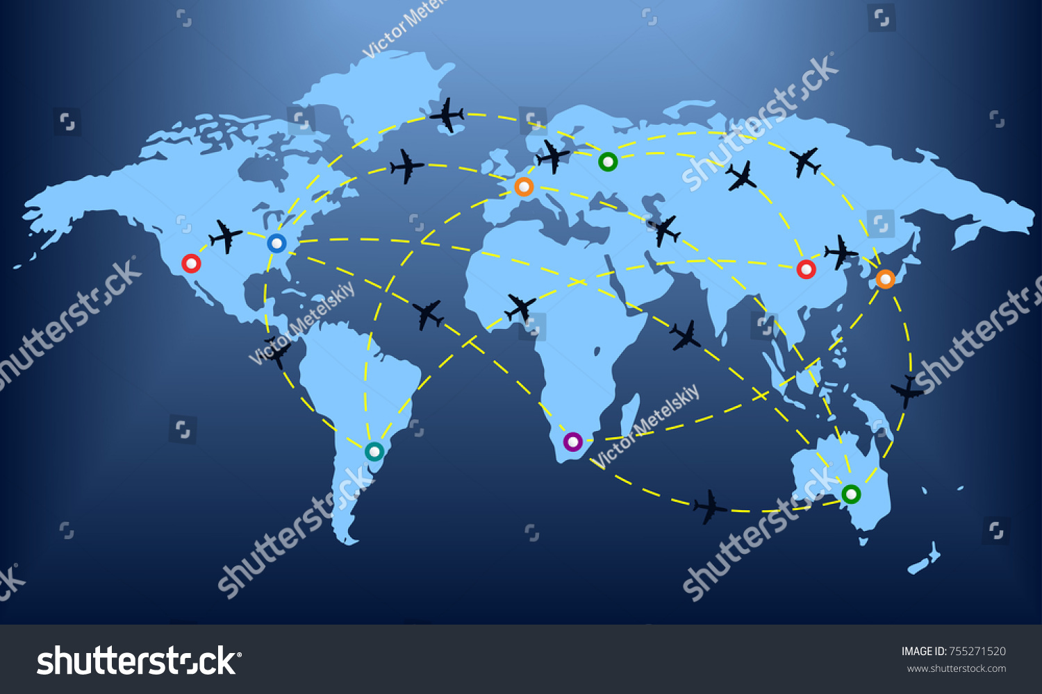 Plane Routes Over World Map Markers Stock Vector Royalty Free