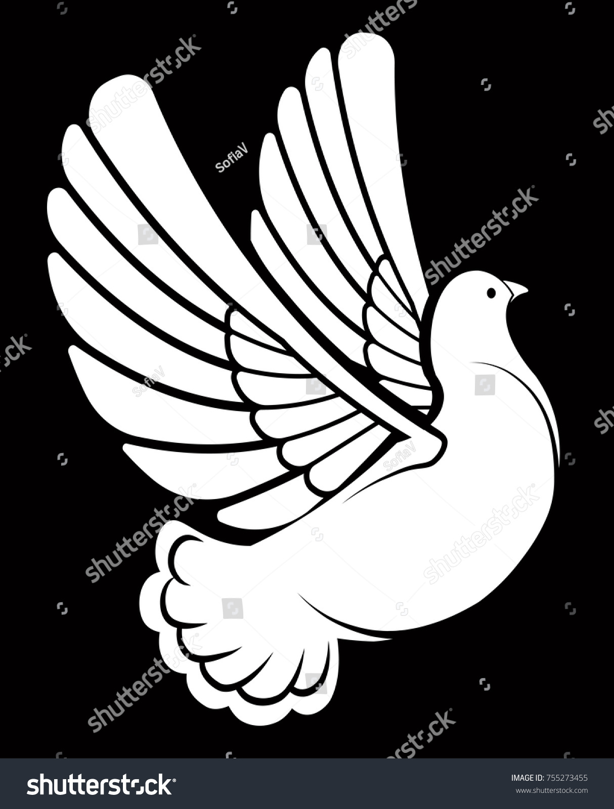Pigeon dove white bird vector logo stock vector 755273455 pigeon or dove white bird vector logo template or isolated symbol icon of peace pronofoot35fo Image collections