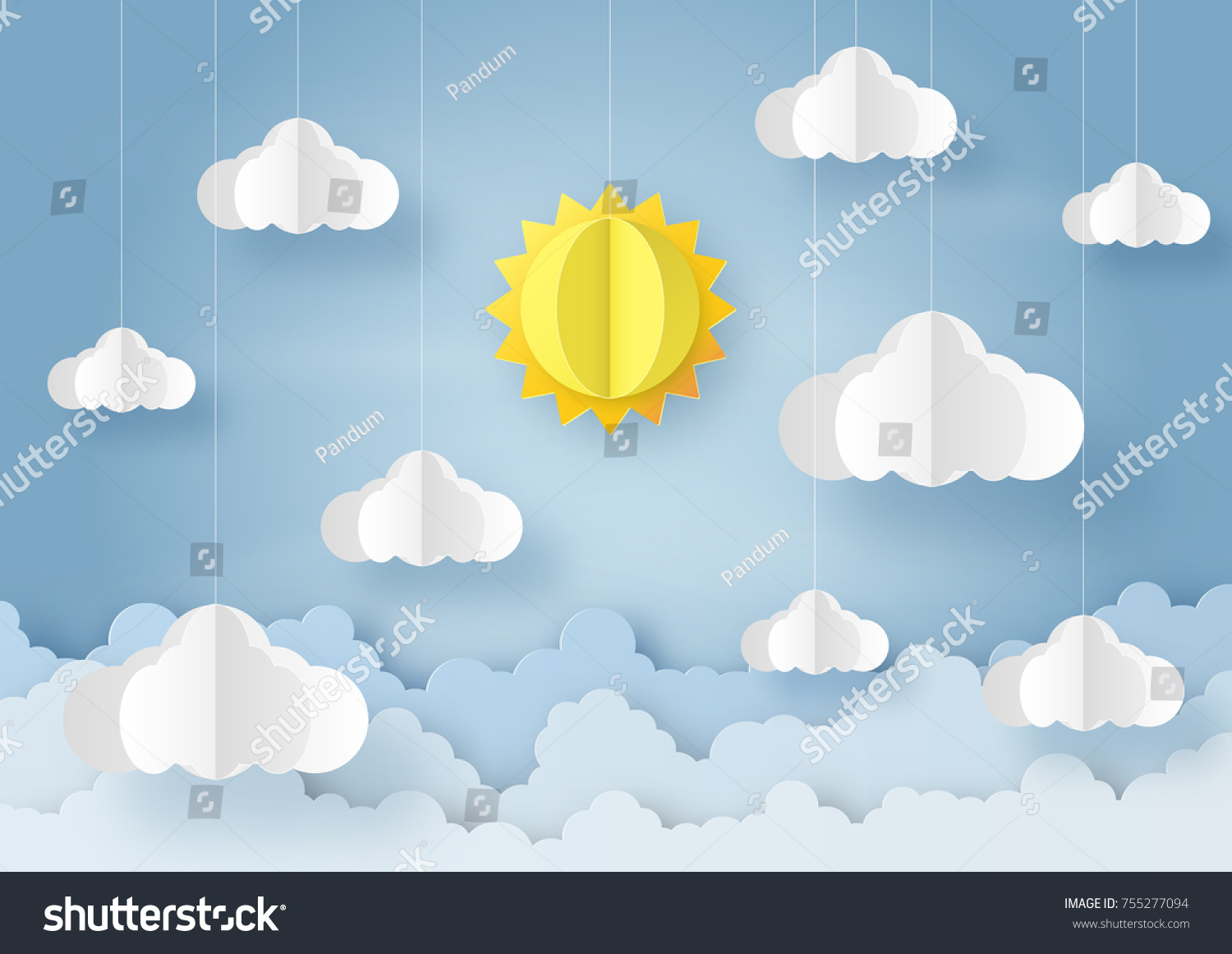 Origami Made Mobile Paper Sun Cloud Stock Vector Royalty Free