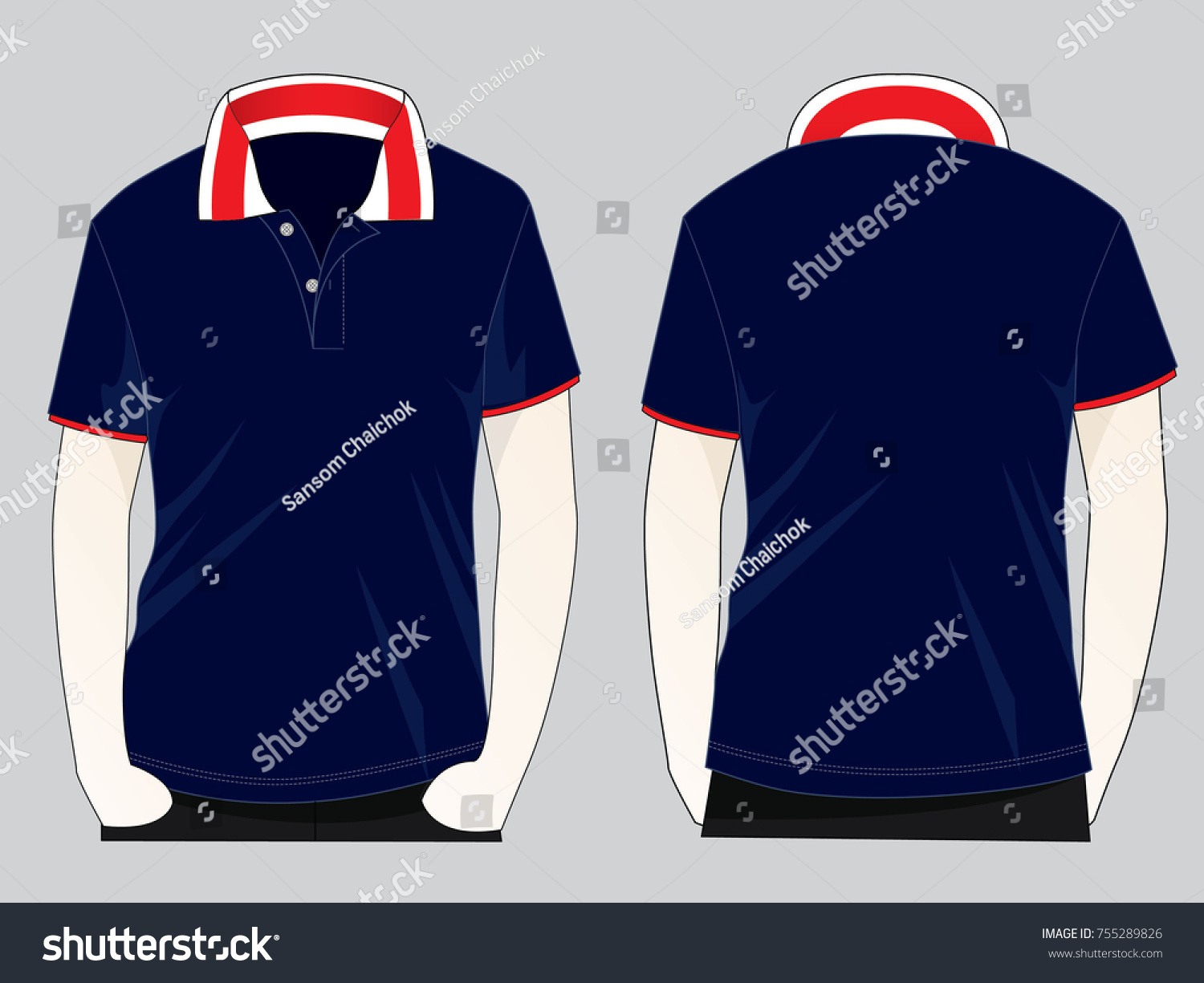 142a99895 Royalty-free stock vector images ID: 755289826. Stripe collar & Navy blue  polo shirt design - Vector