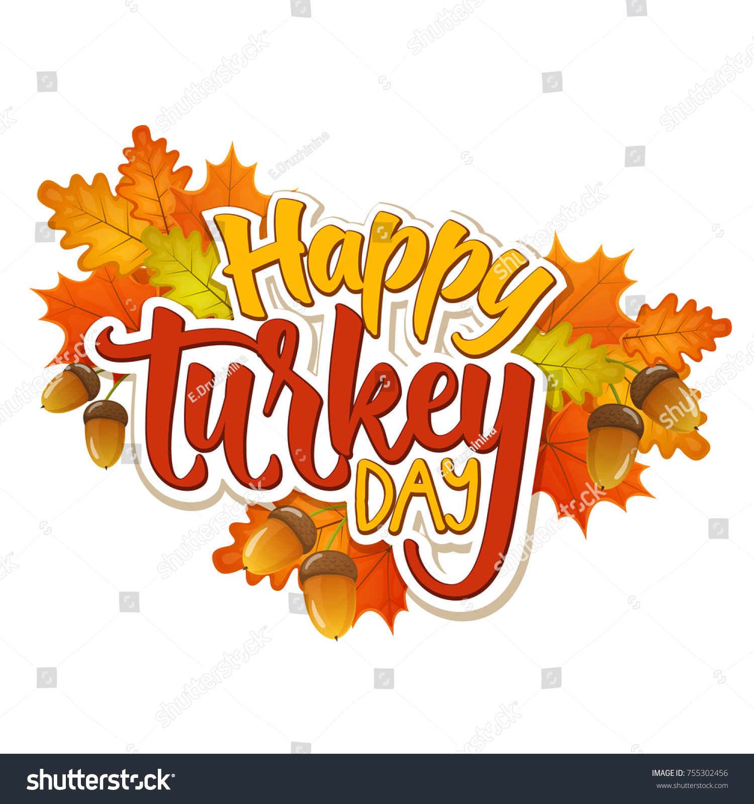 Thanksgiving Day Greetings Autumn Leaves Cartoon Stock Vector