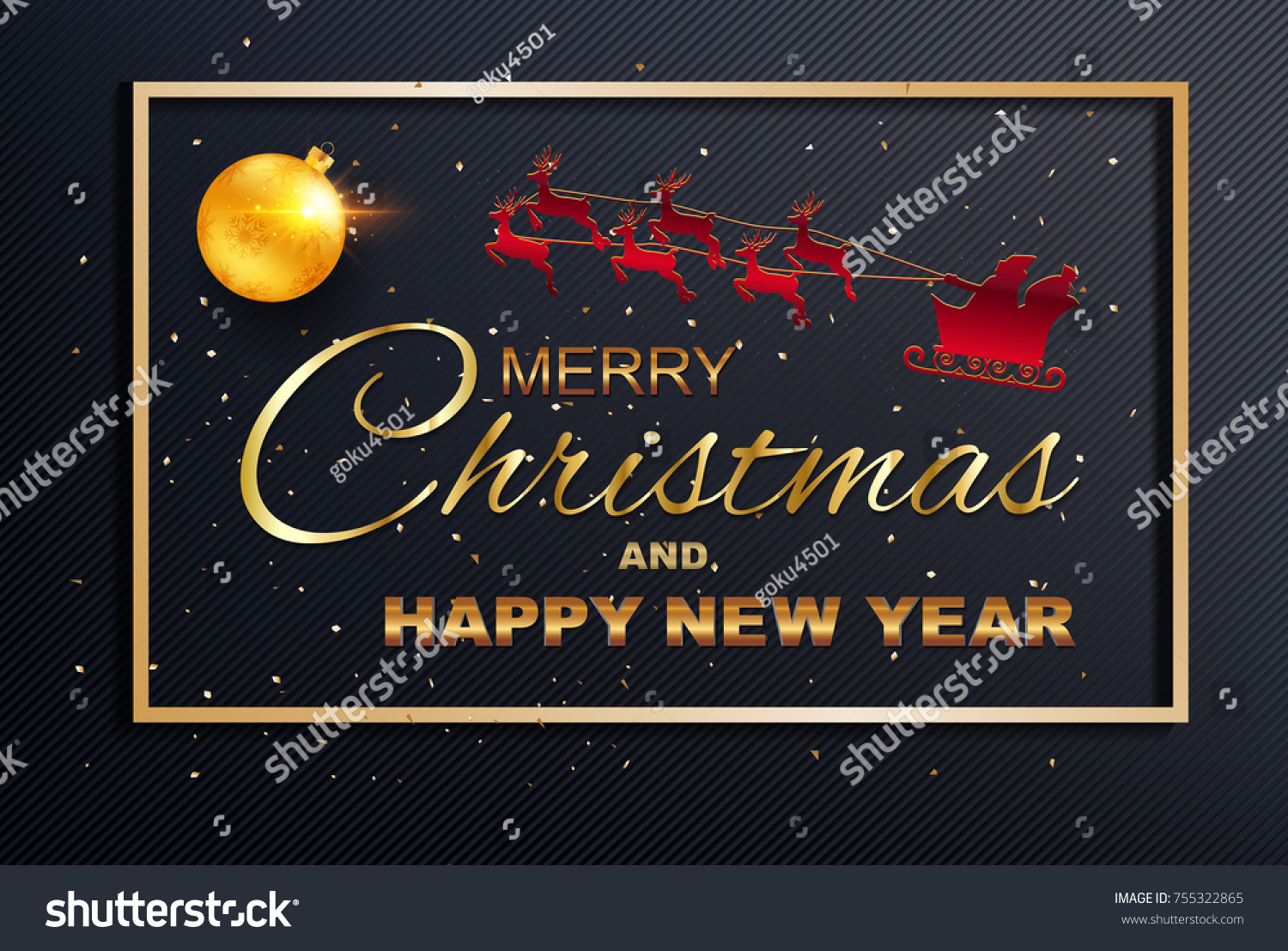 Merry christmas happy new year greeting stock vector 755322865 merry christmas and happy new year greeting card colored text design on background texture kristyandbryce Image collections