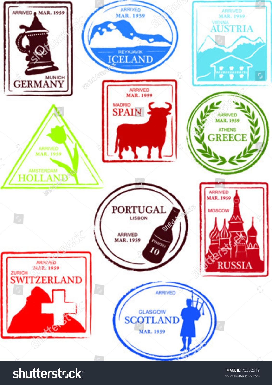 Retro European World Set Of Fun Country Passport Stamps ...