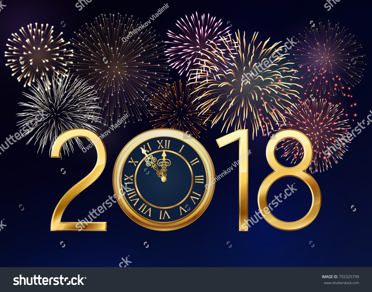2018 new year greeting card golden stock vector 755325799 shutterstock 2018 new year greeting card with golden clock and fireworks eps 10 contains transparency kristyandbryce Images