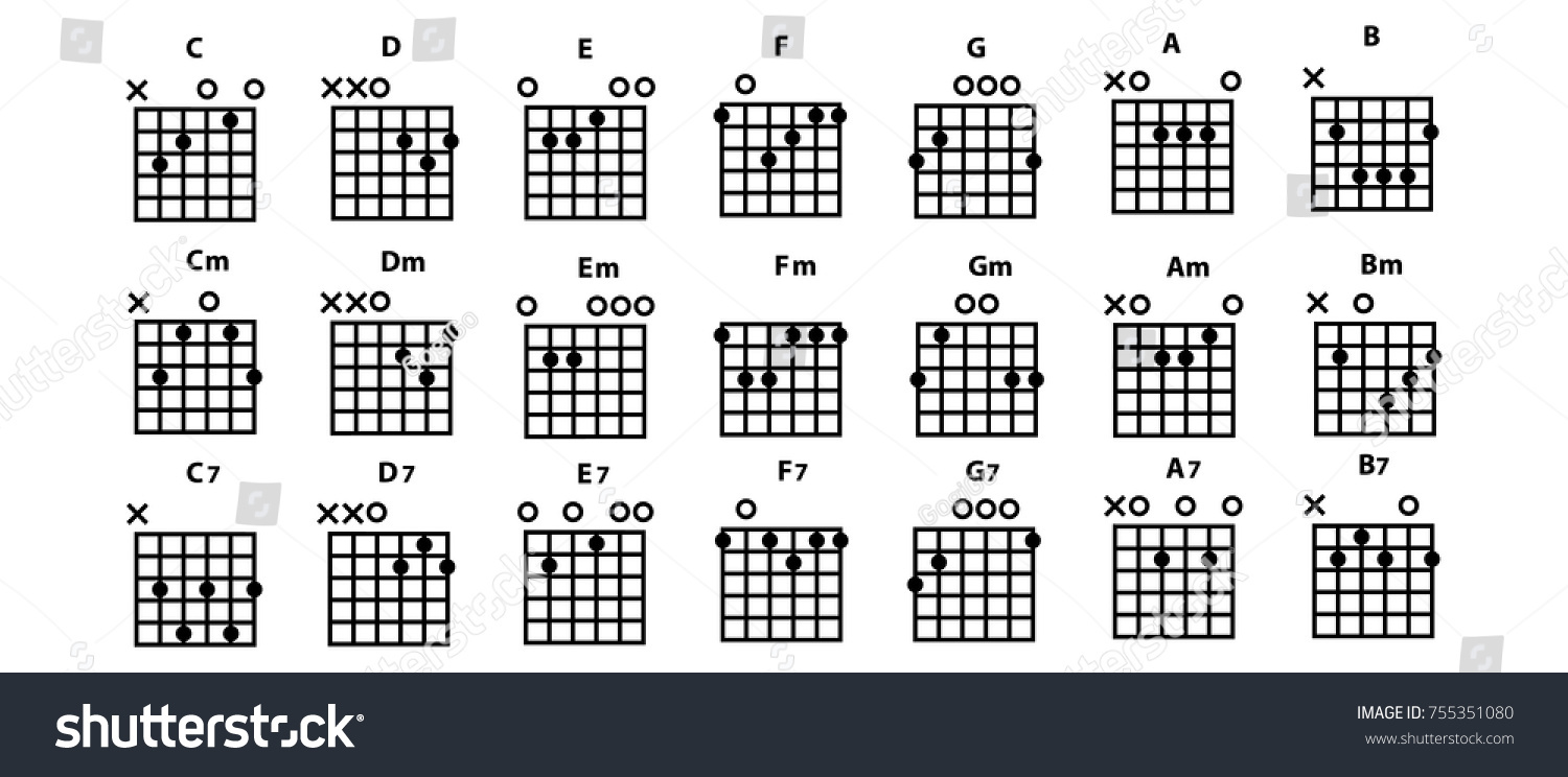 Set Vector Guitar Chords Tab Tabulation Tablature Stock Vector