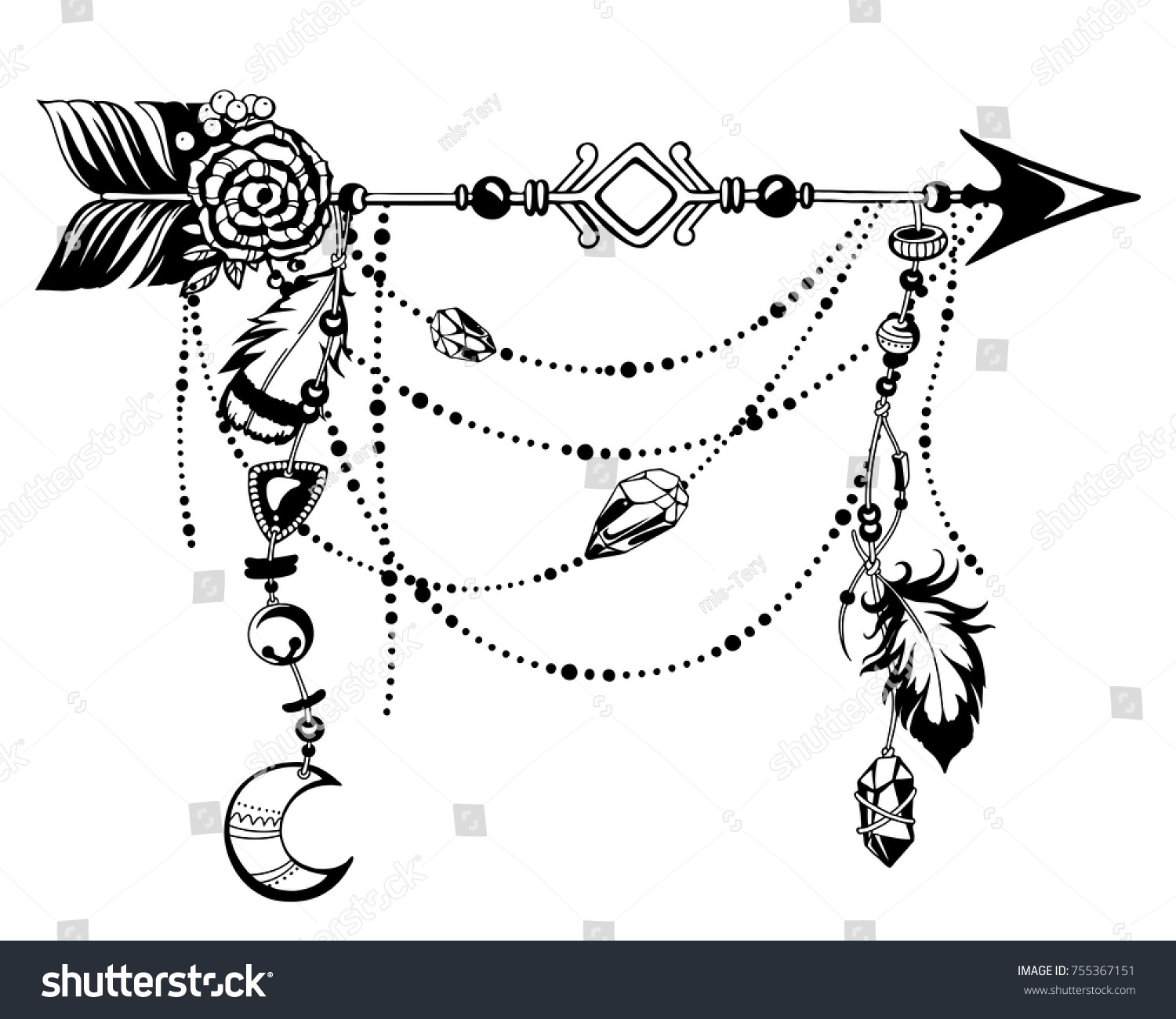 Magic symbolic art in boho style black and white vector illustration arrow feather moon crystal beads spirituality alchemy sacred geometry design