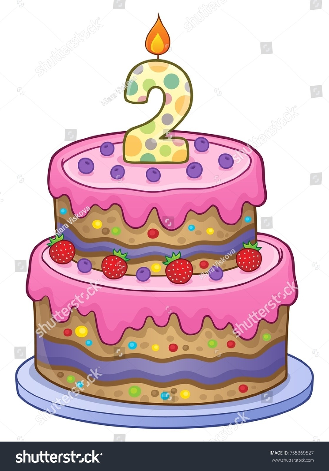 Birthday Cake Image 2 Years Old Stock Vector Royalty Free