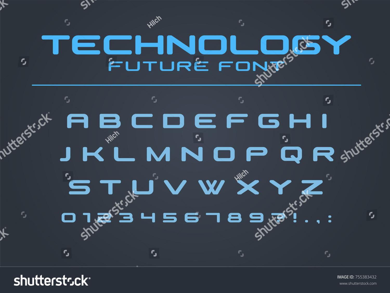 Technology Font Geometric Sport Futuristic Future Stock Vector