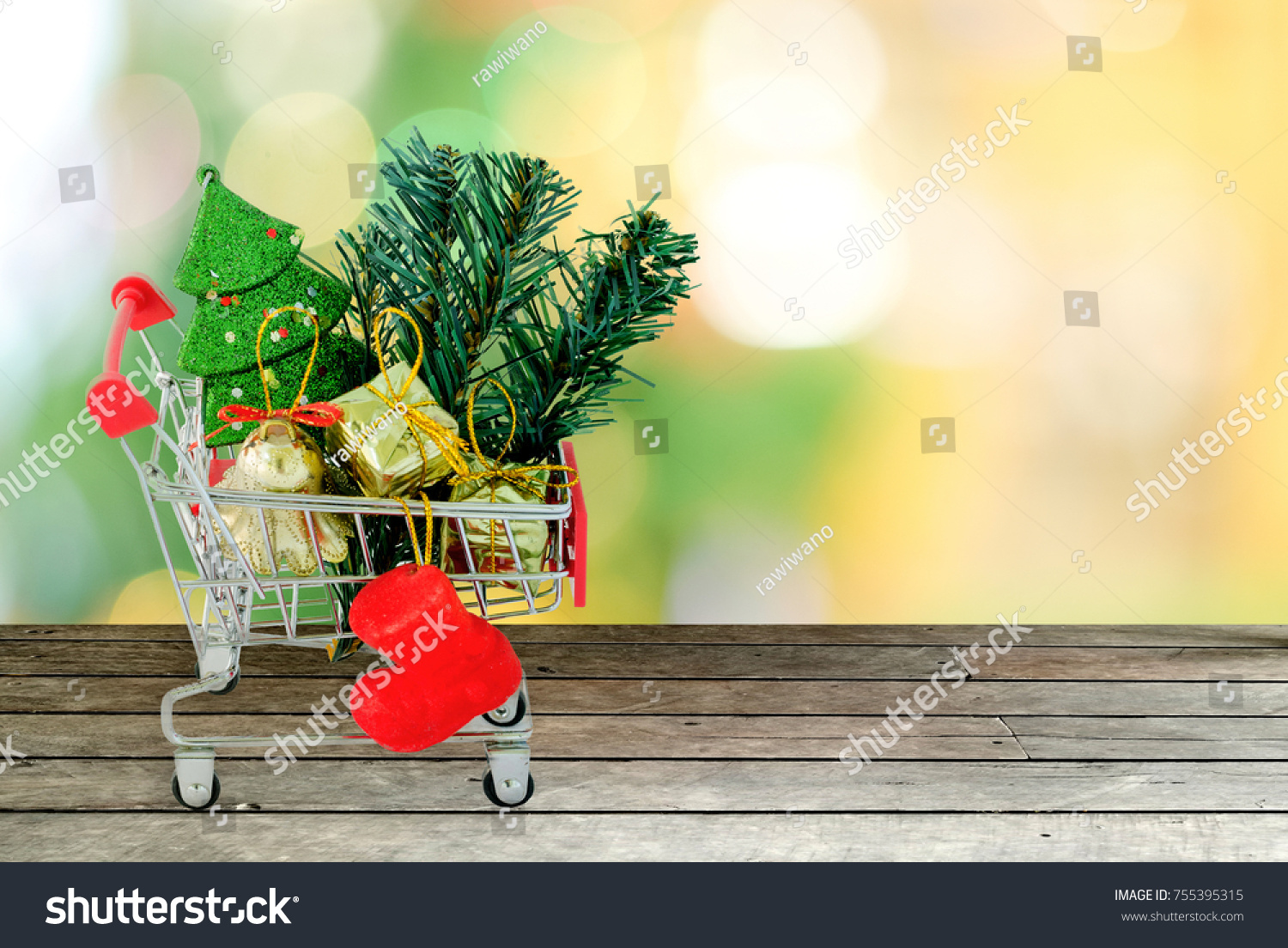 Christmas Sale Shopping Lists Cart Stock Photo Royalty Free 755395315