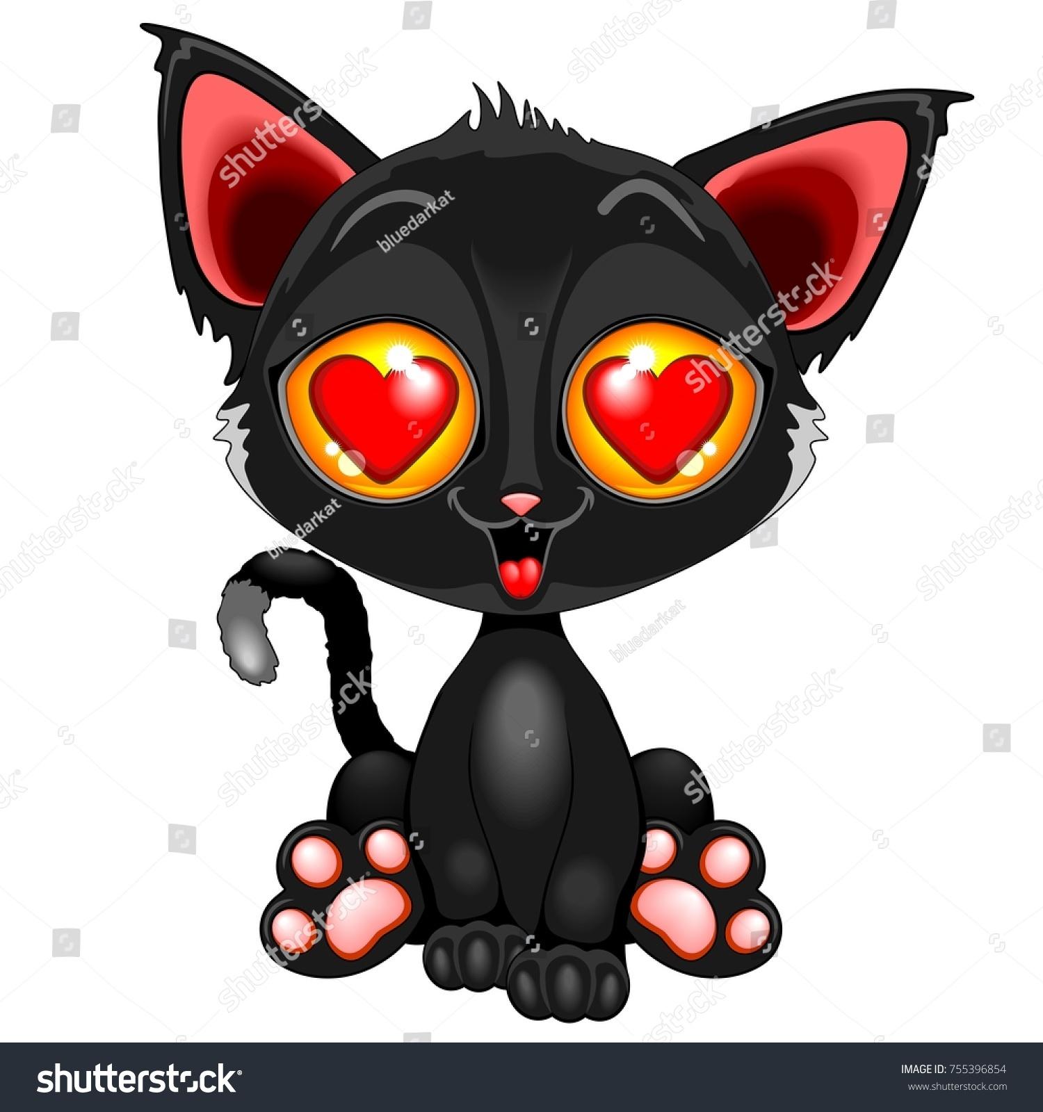 Cute Kitty Cartoon Character Love Big Stock Vector Royalty Free