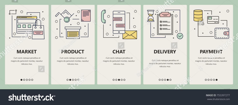 Vector Set Of Online Market Concept Vertical Banners Market