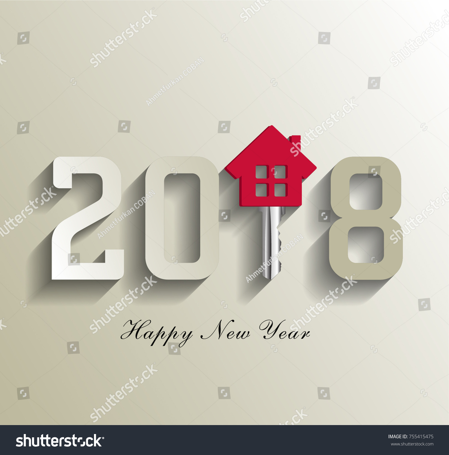 2018 Real Estate 2018 New Happy Stock Vector 755415475