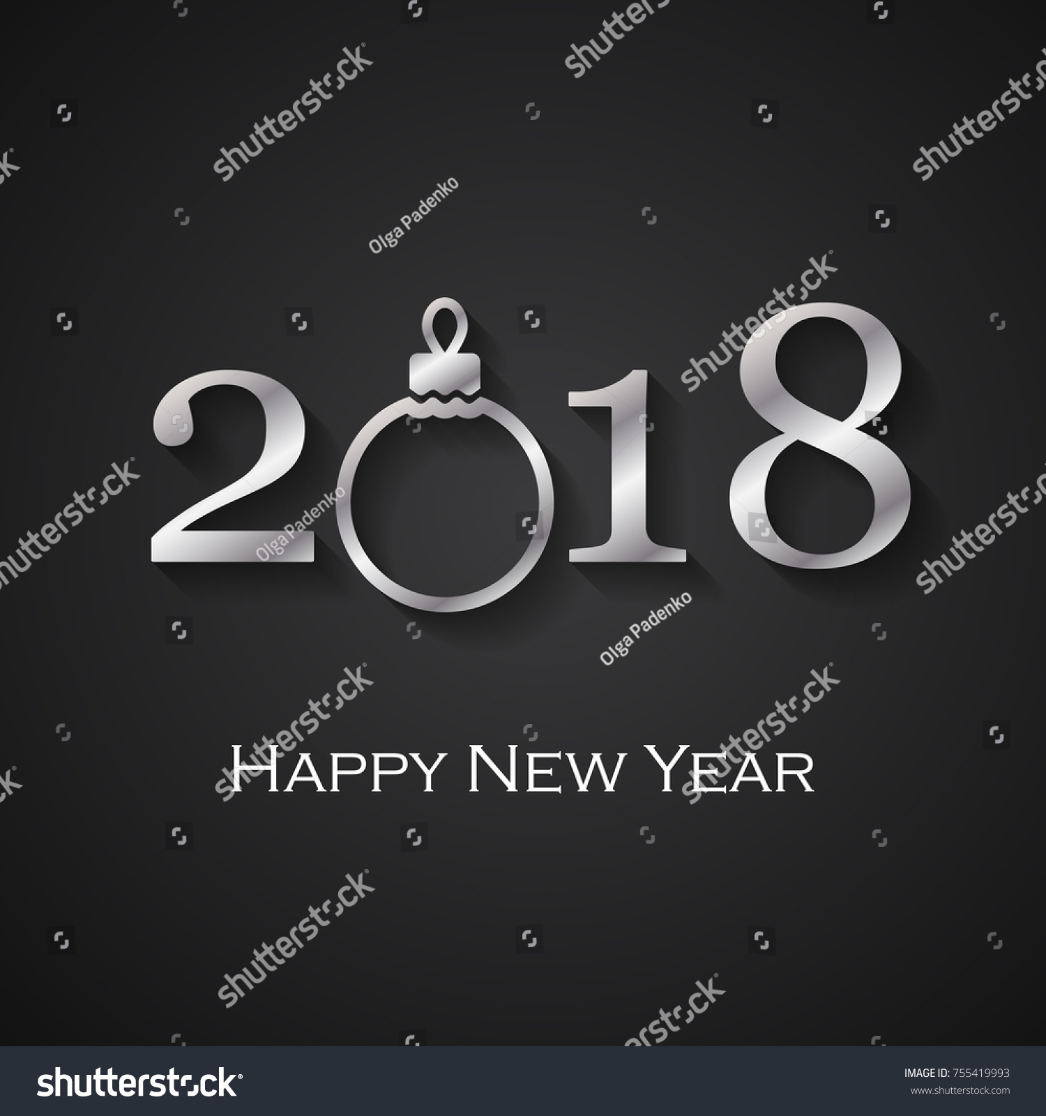 2018 Happy New Year Black Greeting Stock Vector Royalty Free