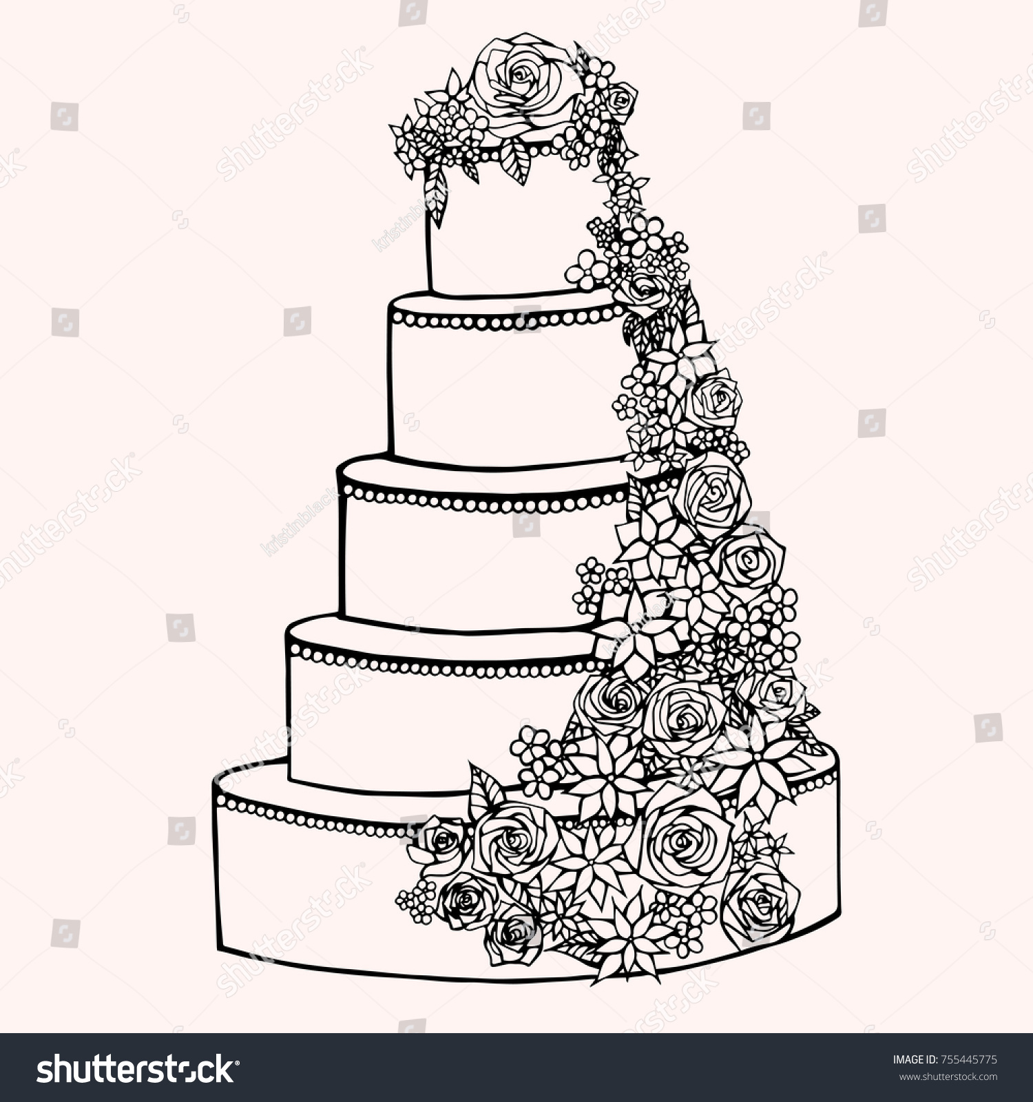 Cake Decorative Handdrawing Vector Illustration Sketch Stock Vector