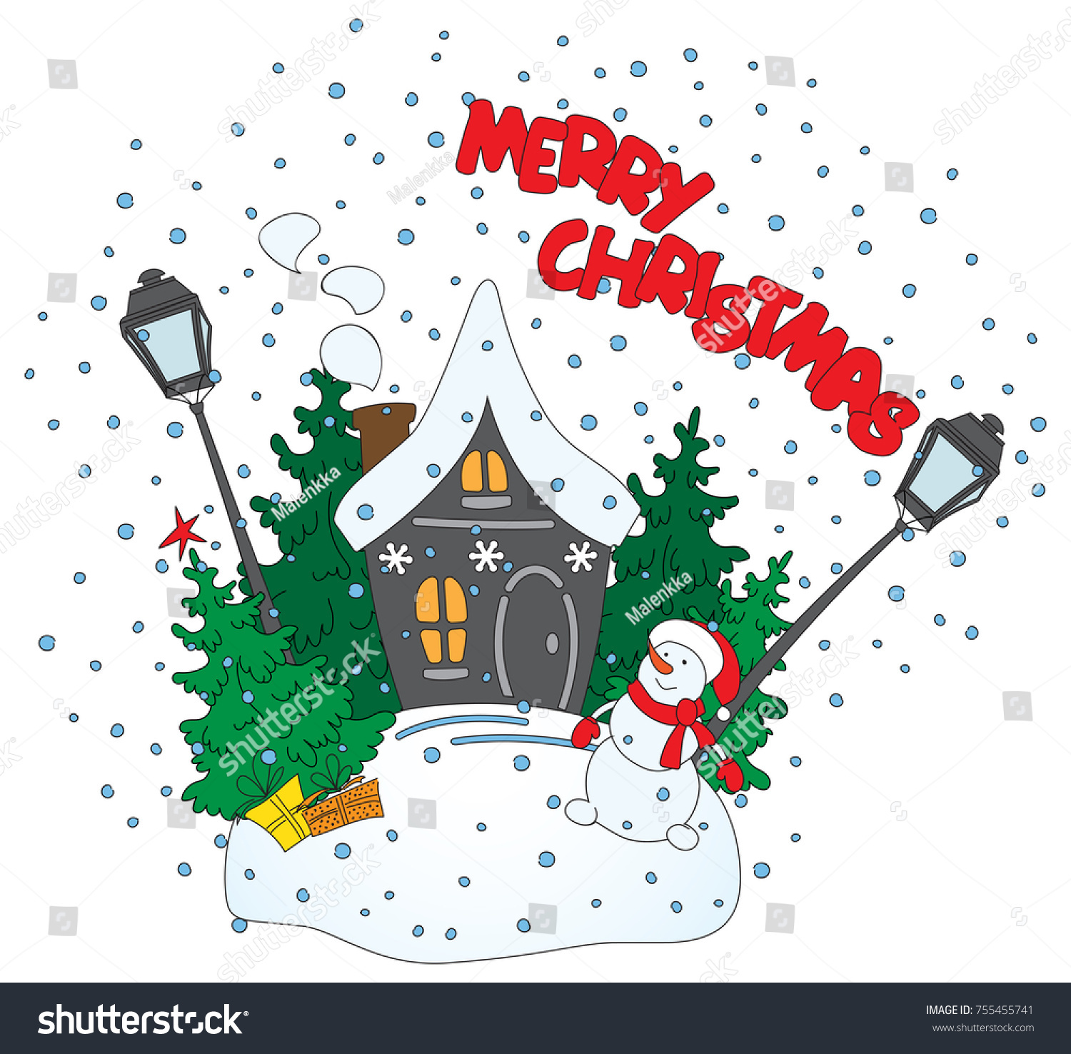 The Funny Christmas Drawing Snowman Staying Near Small House