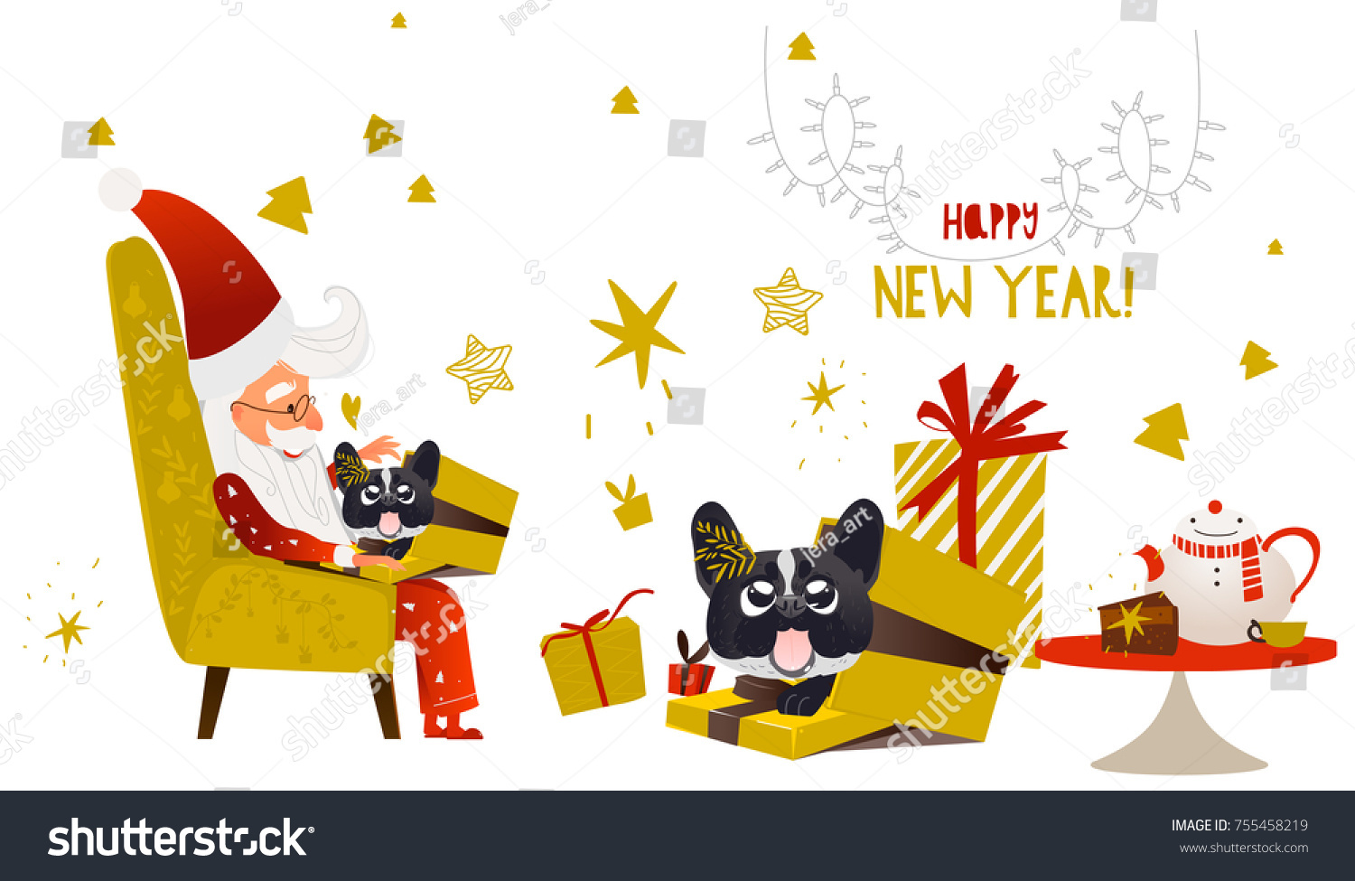 Happy 2018 New Year Card Funny Stock Vector (Royalty Free) 755458219 ...