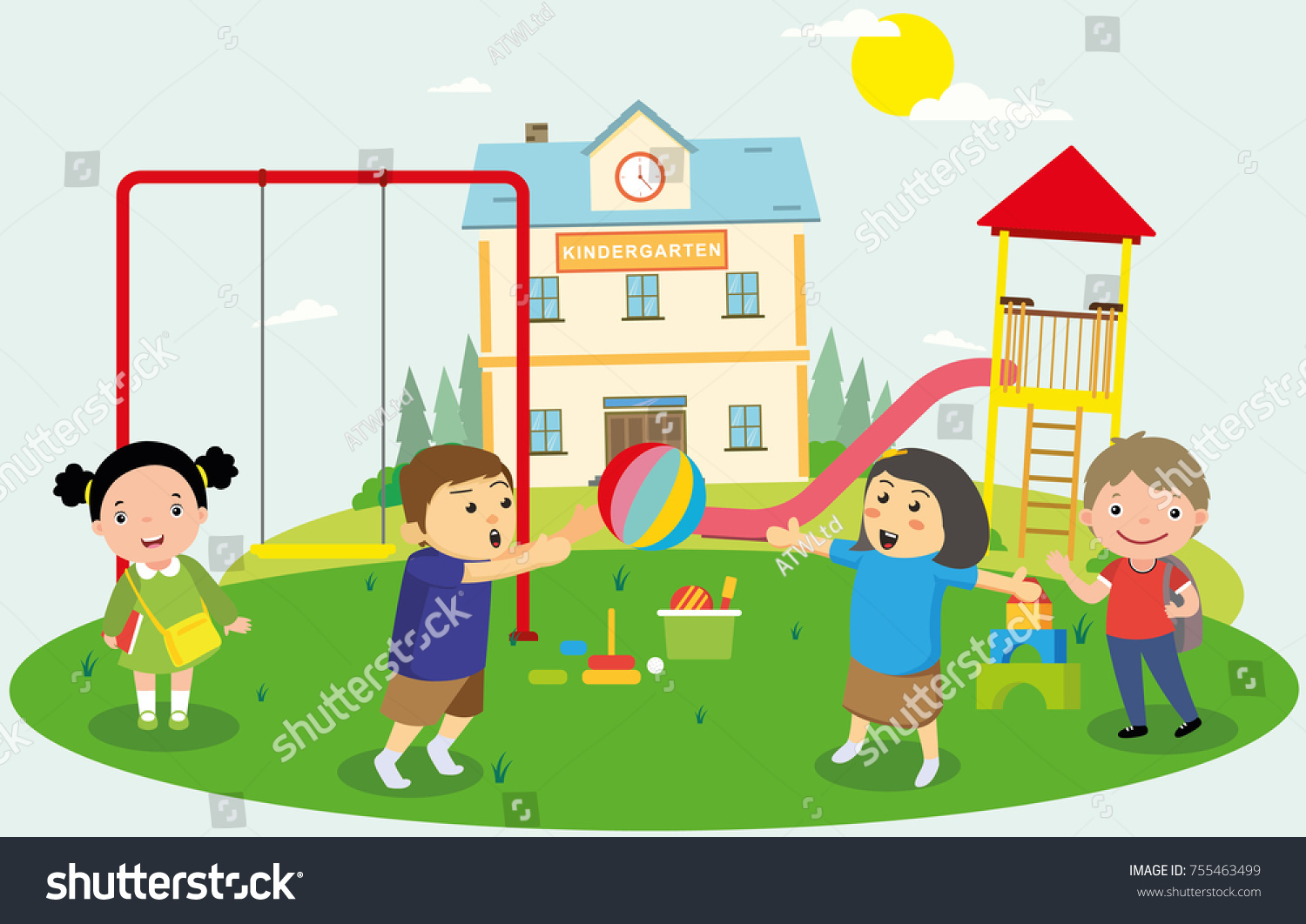 Kids Playing On Playground At School