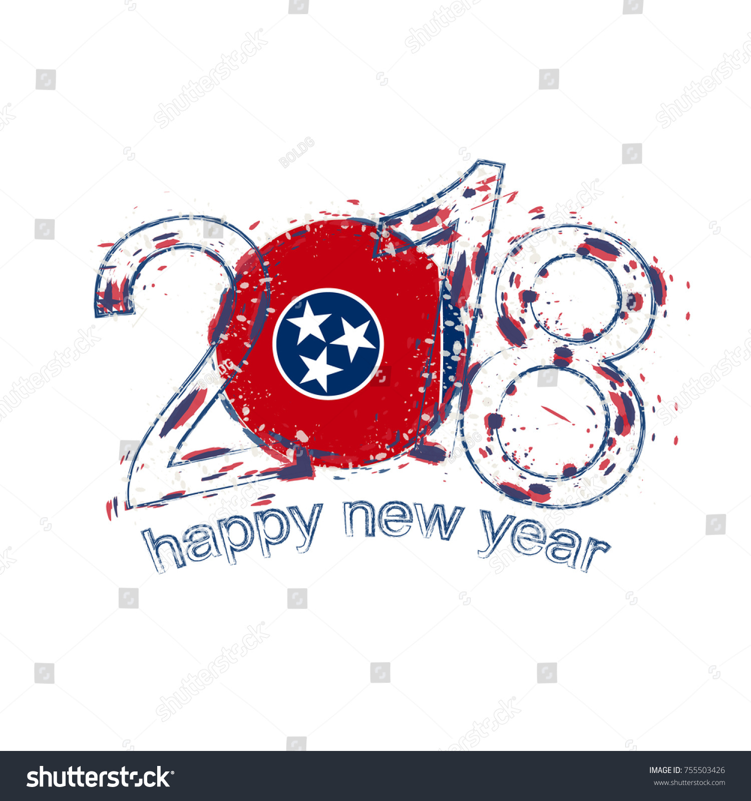 2018 Happy New Year Tennessee US Stock Vector (Royalty Free ...