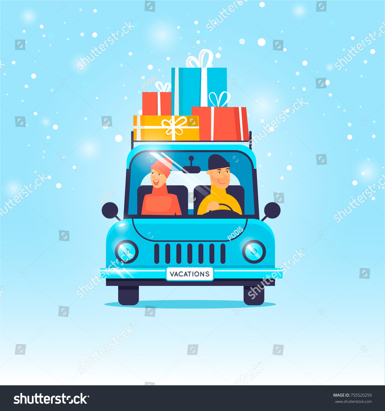 merry christmas and happy new year couple driving presents on the car flat design